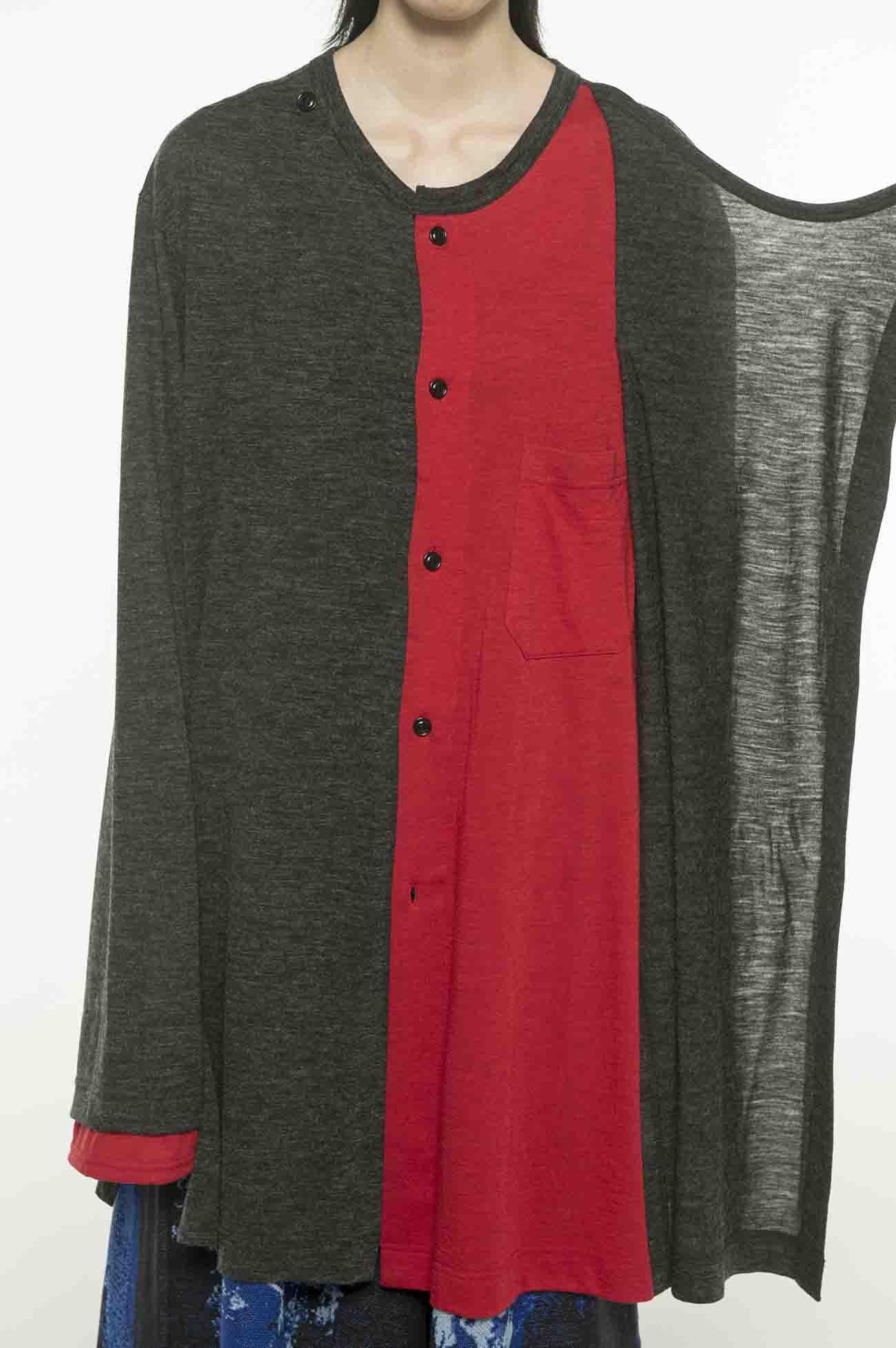 Wool Acrylic Jersey Panel Color Wrap Crew Cardigan