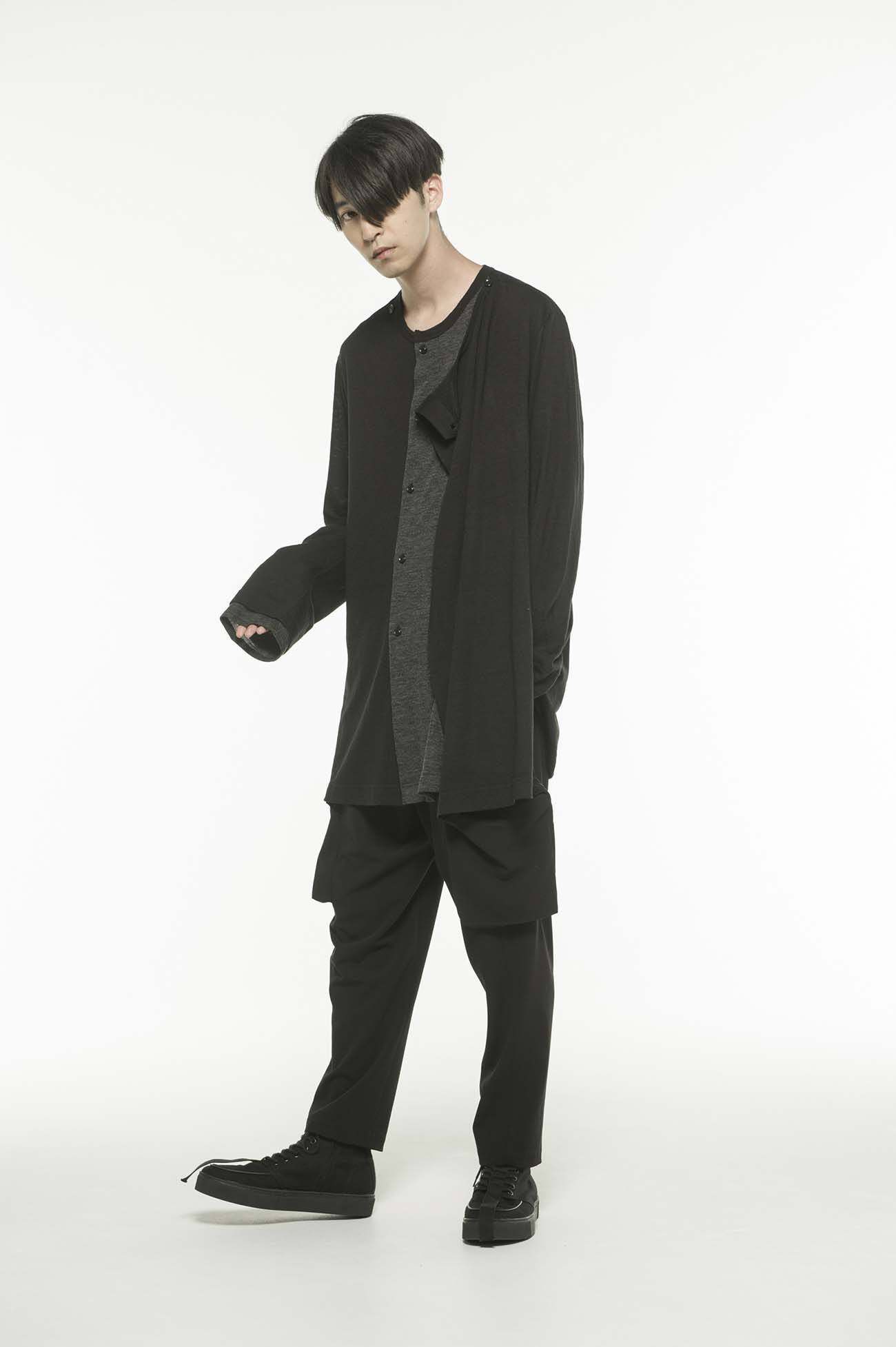 Wool Acrylic Jersey Panel Color Wrap Crew Cardigan