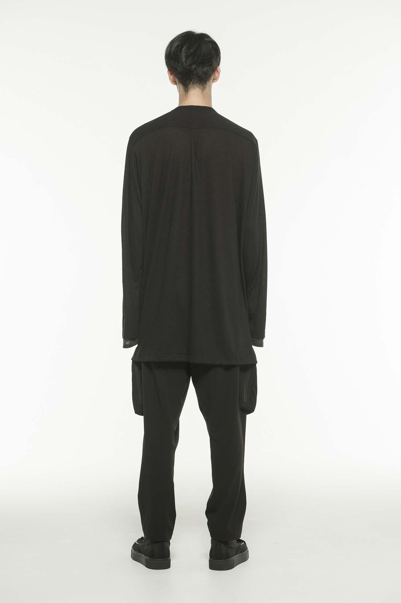 羊毛混纺拼接卷裹开衫