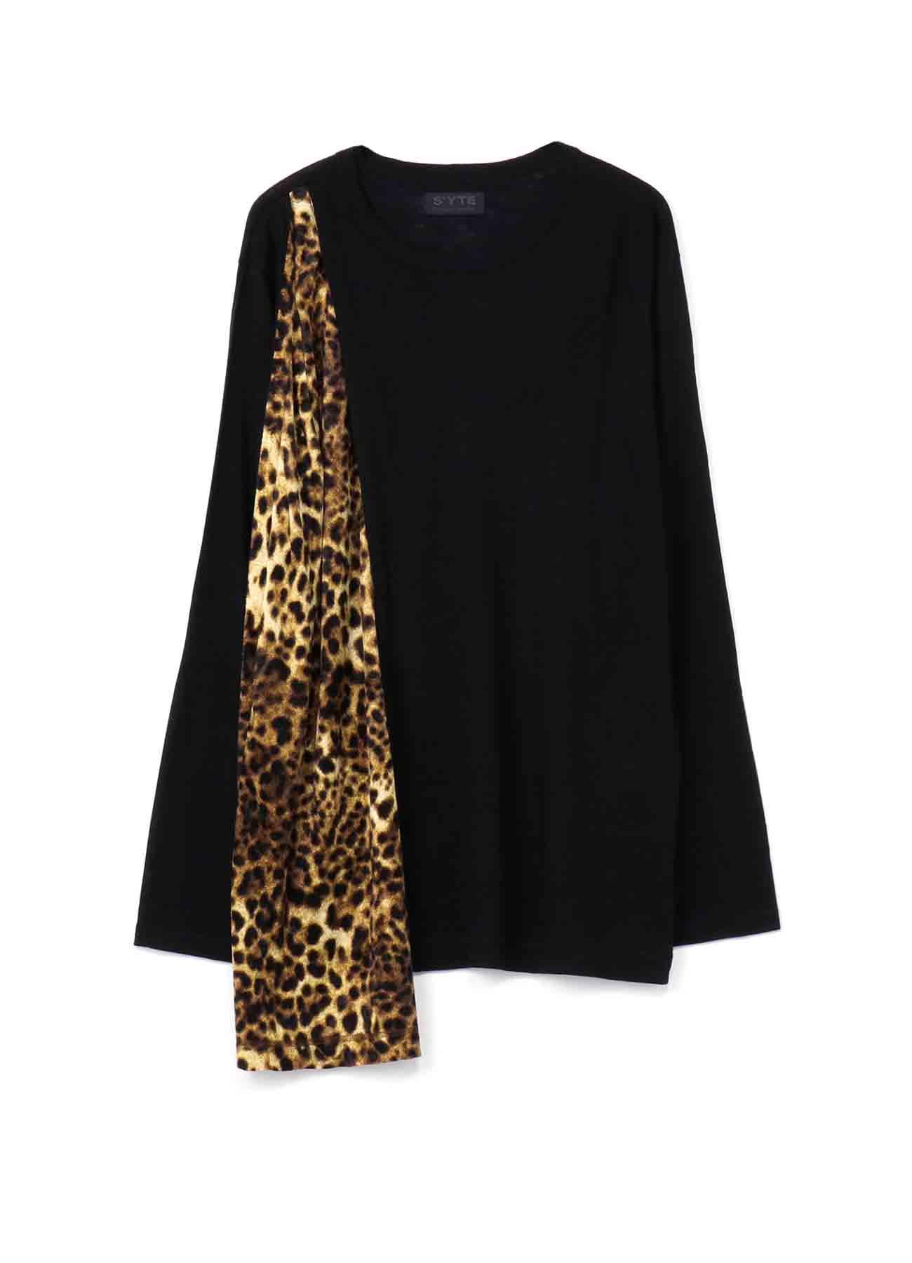 Ac/Wool Pe/Velor Leopard Asymmetry drape T