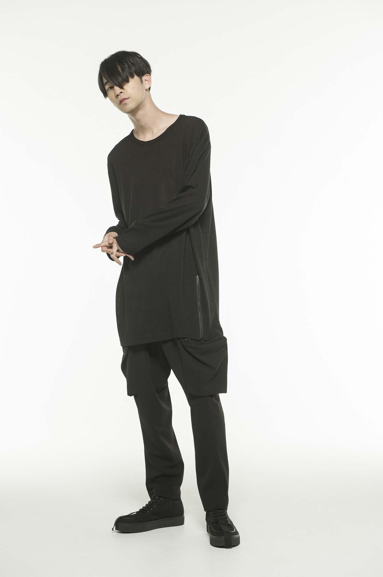Wool Acrylic Jersey Hem Slit Zipper Big Crew