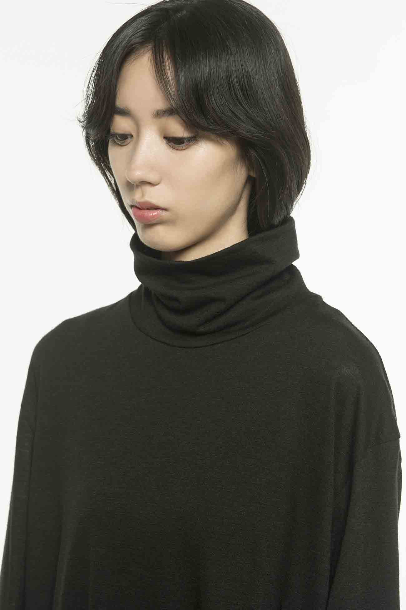 Wool Acrylic Jersey Slit Button Long Turtle
