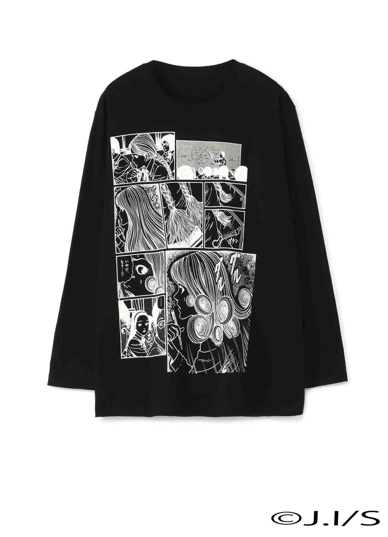 """五岛桐绘""""旋涡""""发型长袖T恤"""