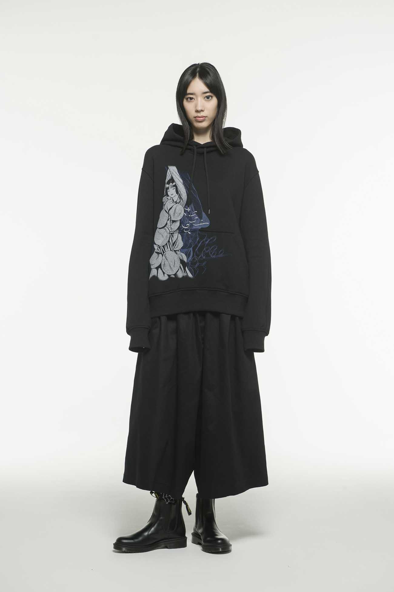 French Terry Stitch Work Azami Uzumaki Wearing Yohji Yamamoto Hoodie