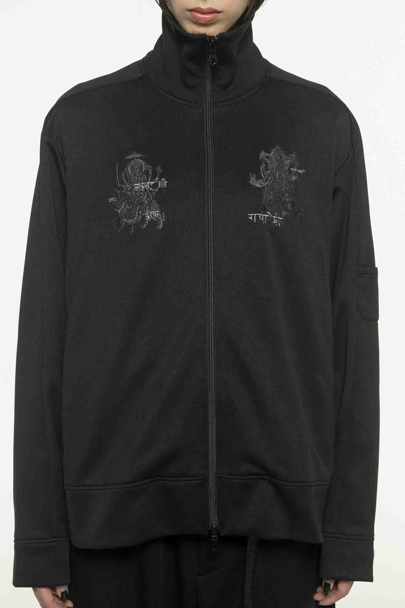 Pe/Smooth Jersey Hindu God Durga&Ganesha Embroidery Track Jacket