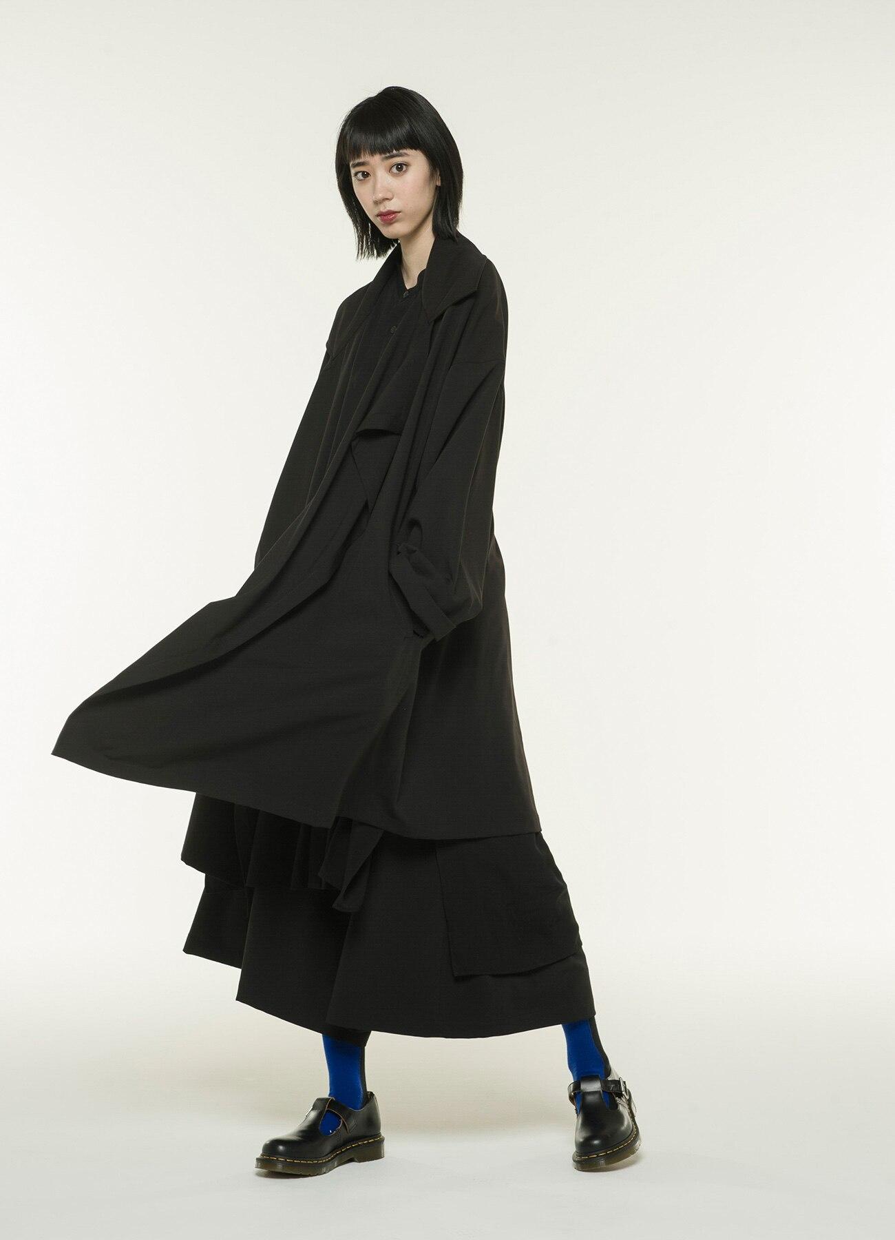 Pe/Rayon Gabardine Stretch Frame Double Collar Drape Coat
