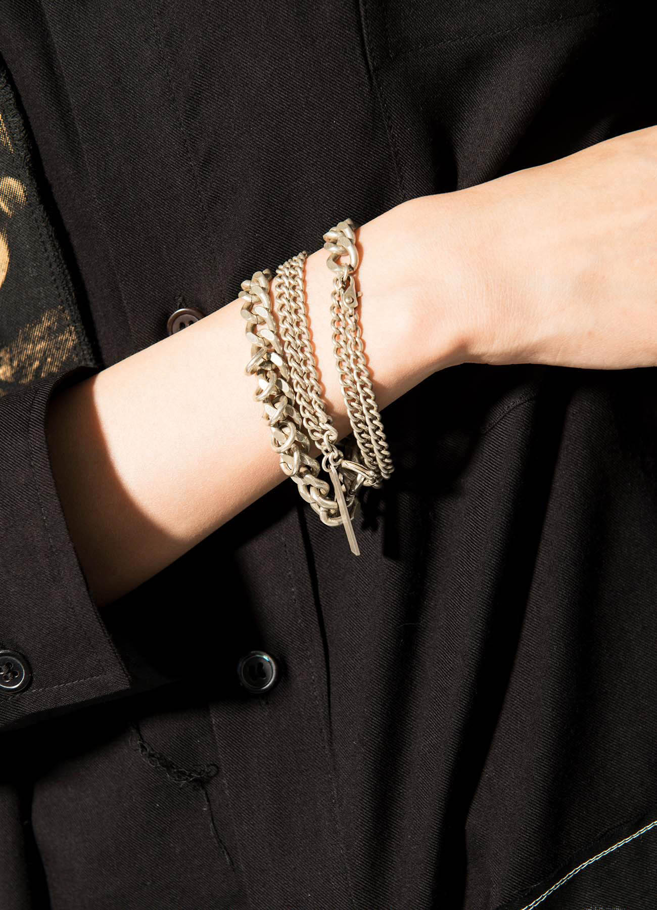 Brass 6-way Curved Chain Bracelet Necklace