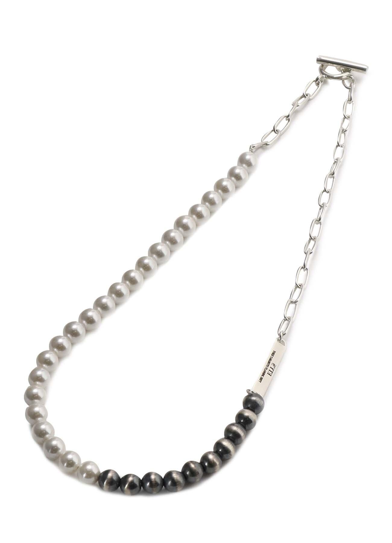 Navajo/Shell Pearl Bicolor Necklace
