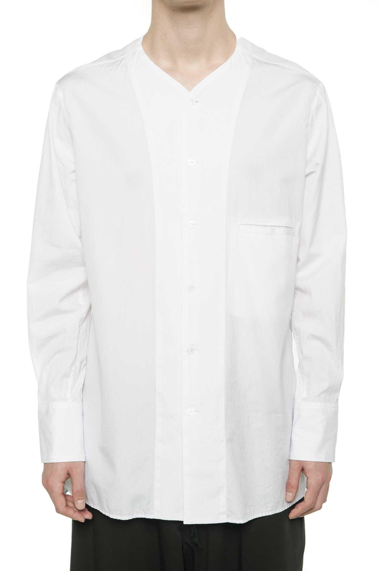 100/2 Broad No-Collar V-Open shirt