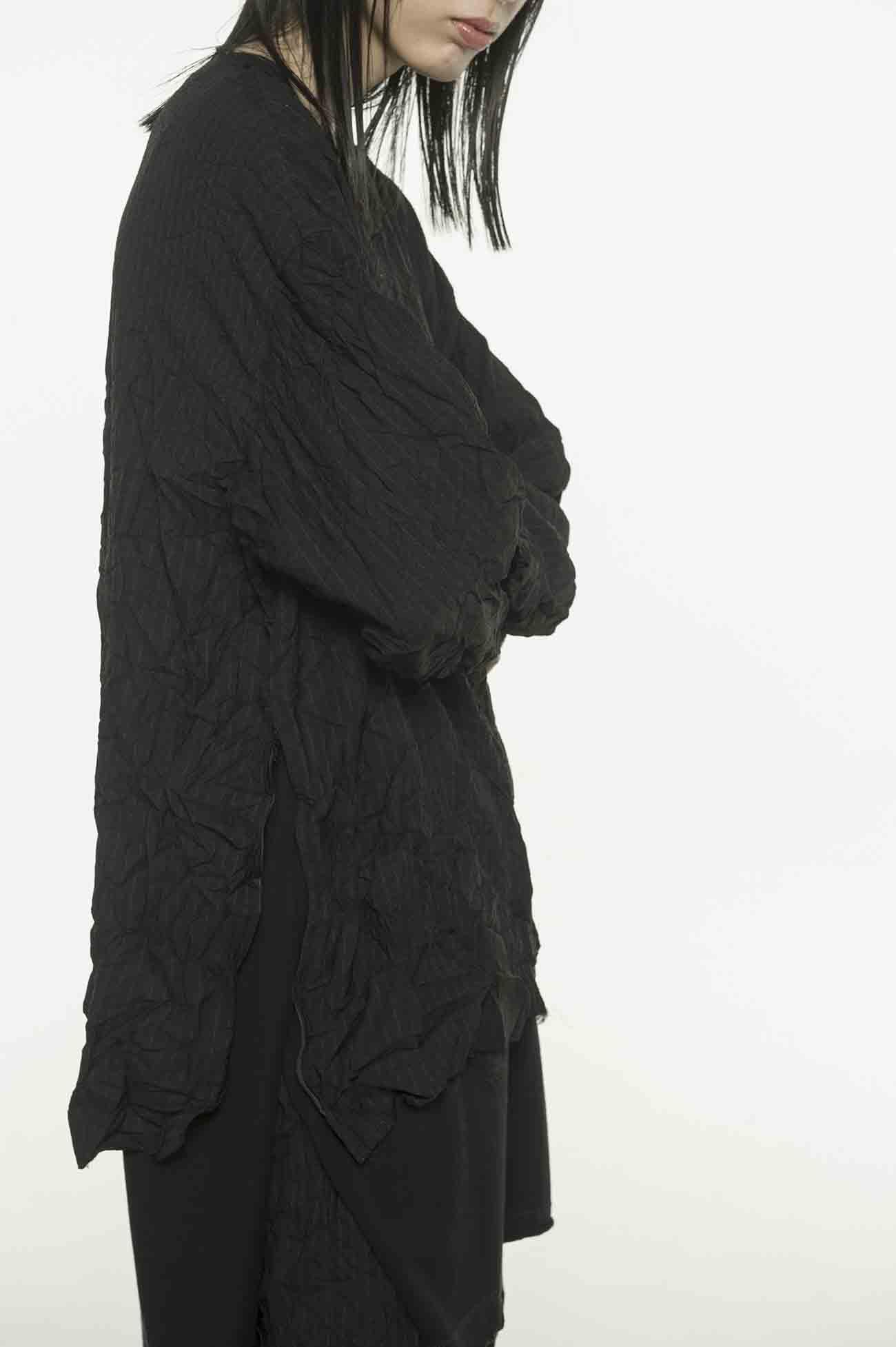 拉链装饰褶皱条纹上衣
