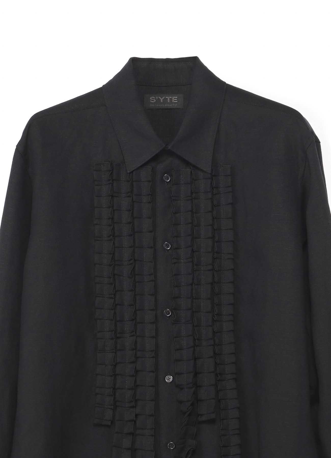 褶饰领口设计衬衫