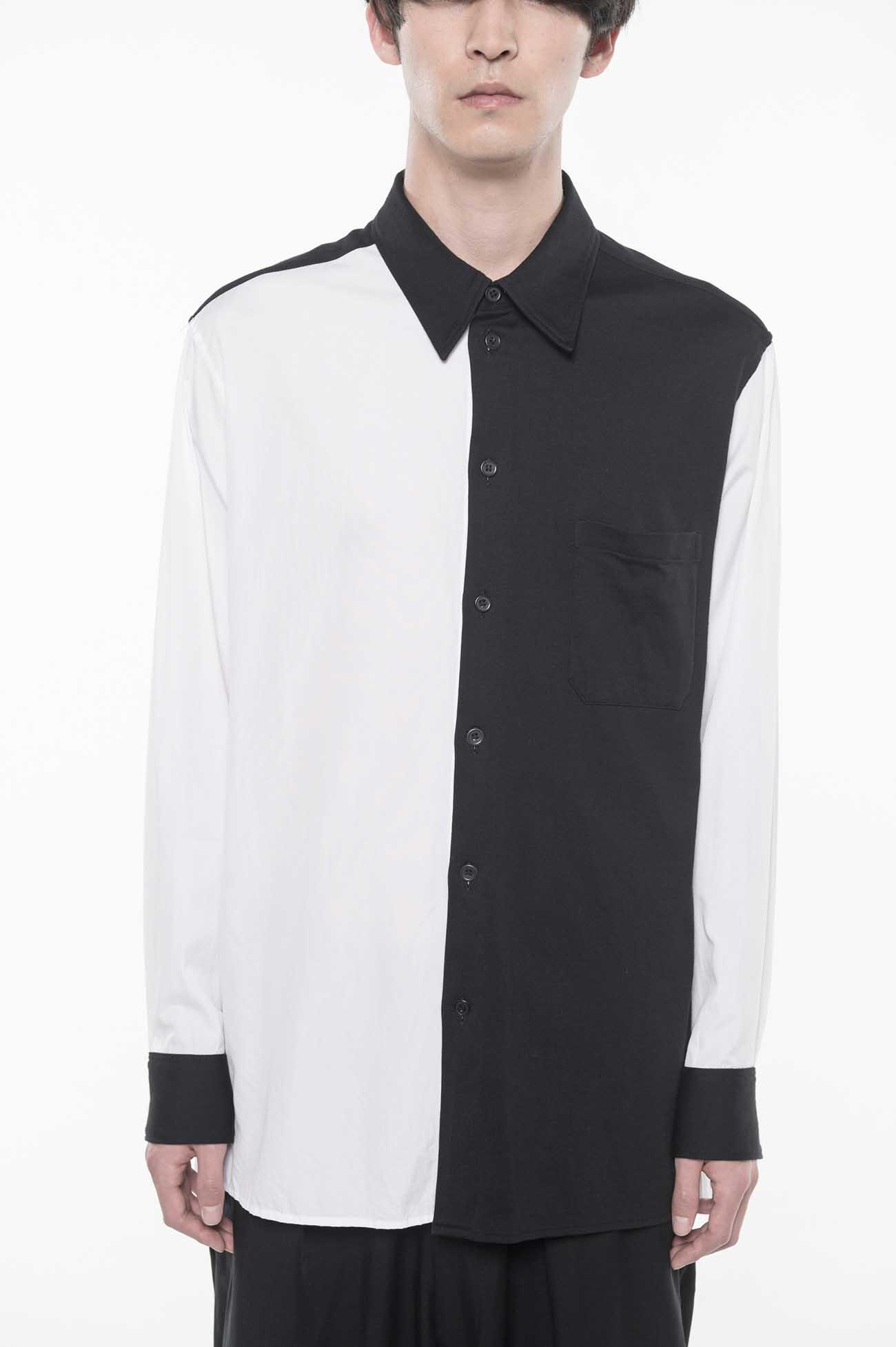 100/2 Broad /40/2 Cotton Jersey Regular Collar Two-tone Panel Shirt