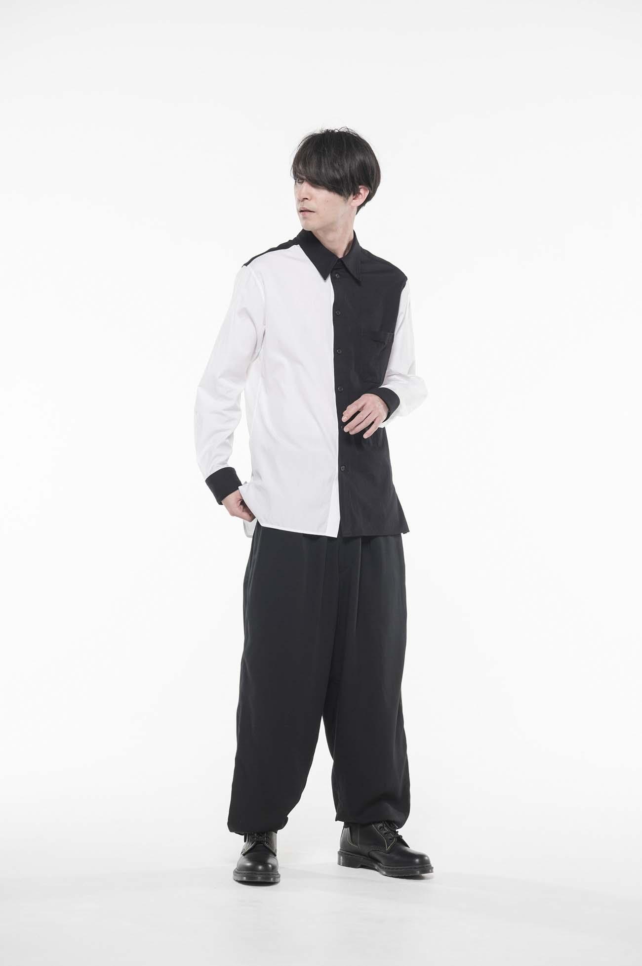 黑白长袖衬衫