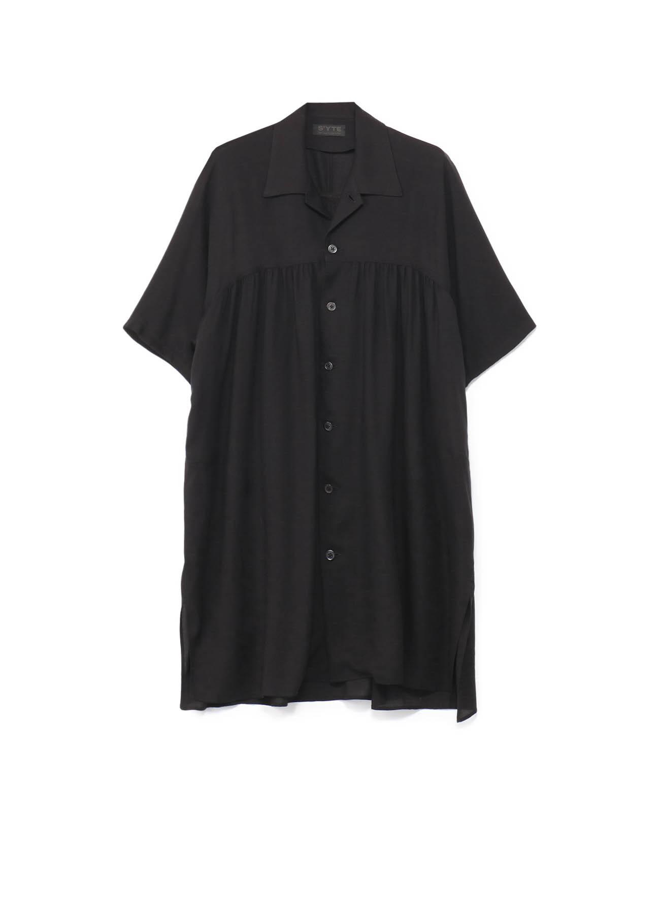 西装领长款飘逸短袖衬衫