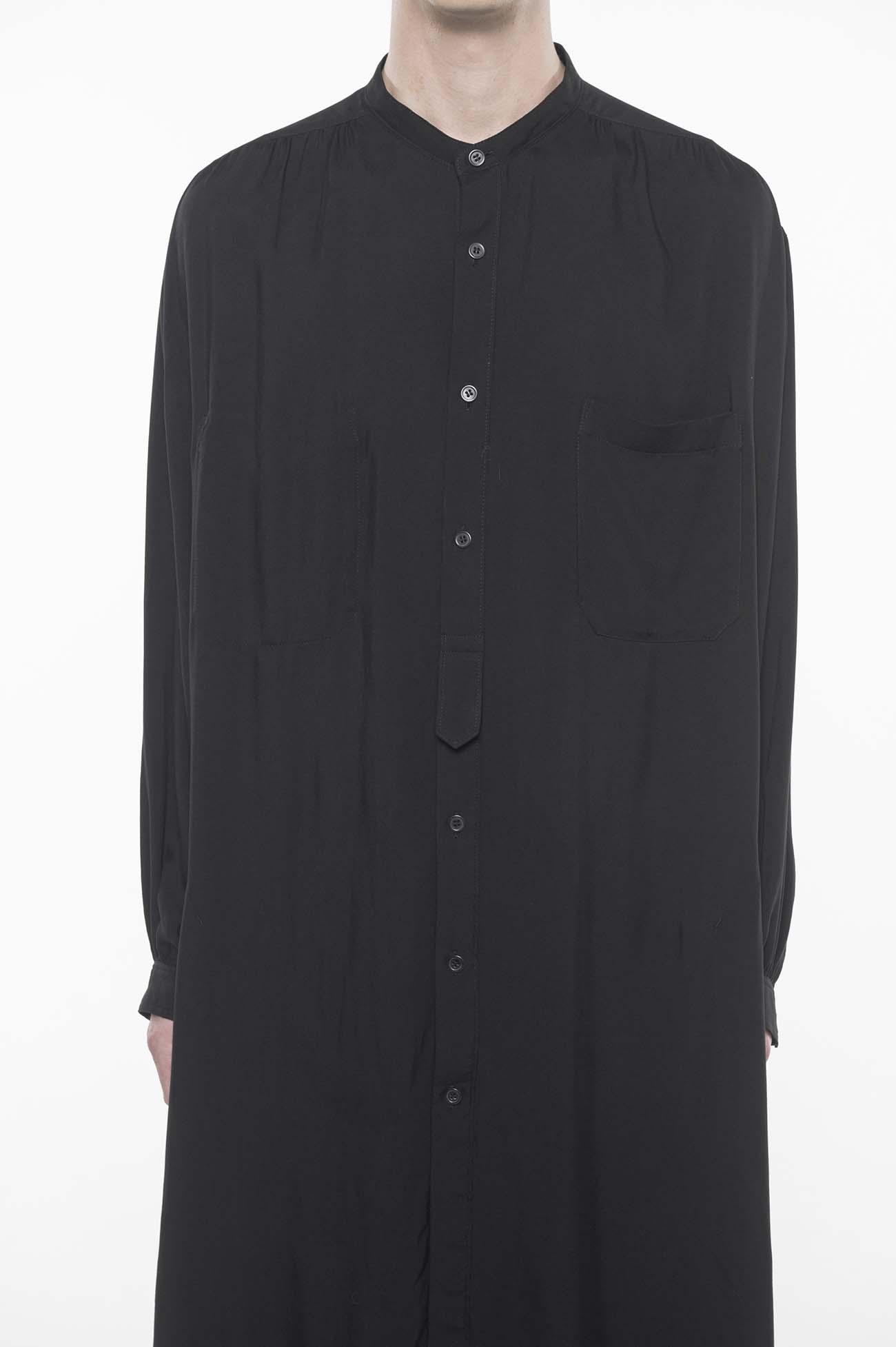 60s Ry/Span Twill Washer Stripe Back Stand Gather Big Long Shirt