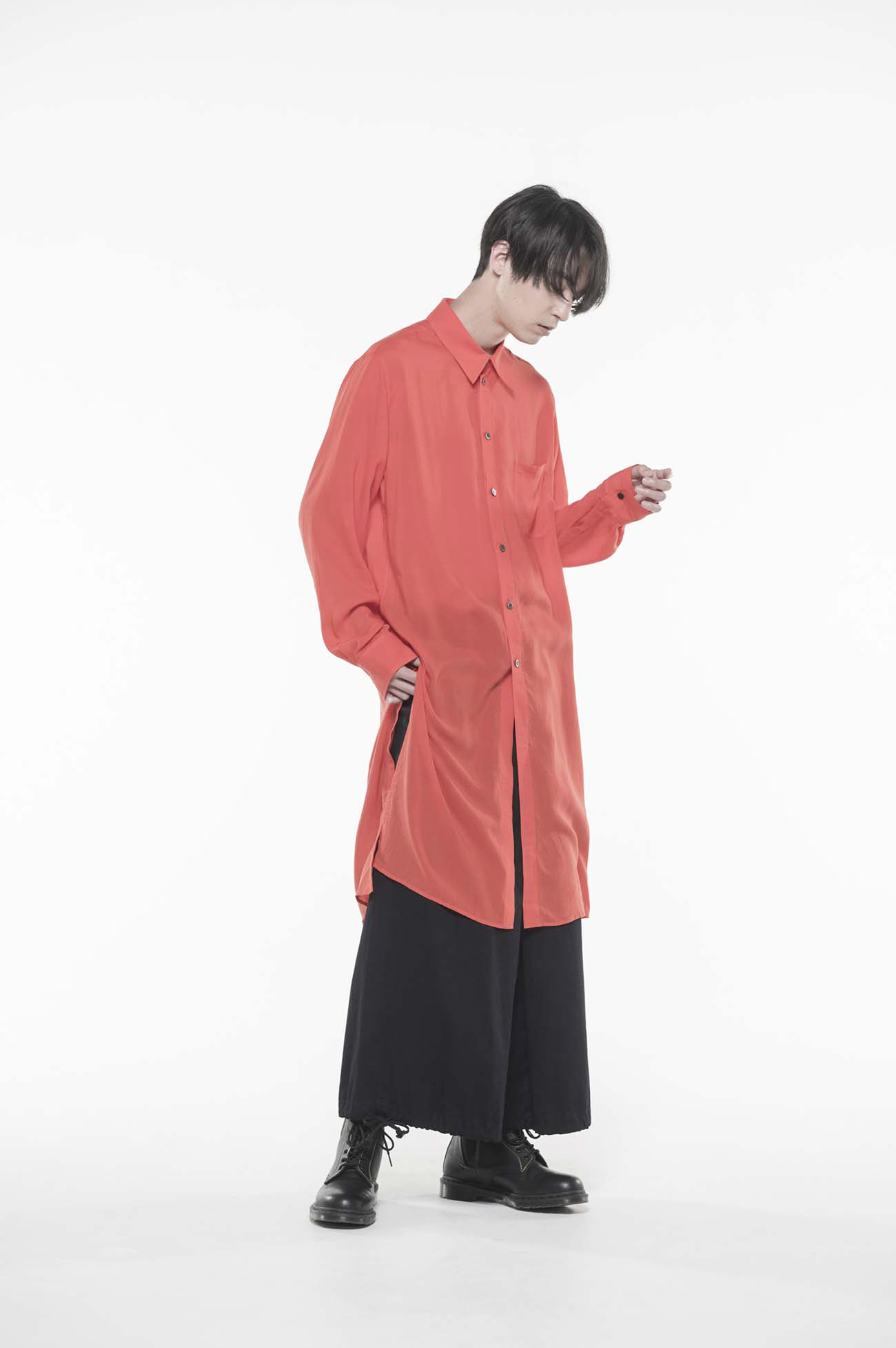 Tencel /Loan Regular Collar Long Shirt