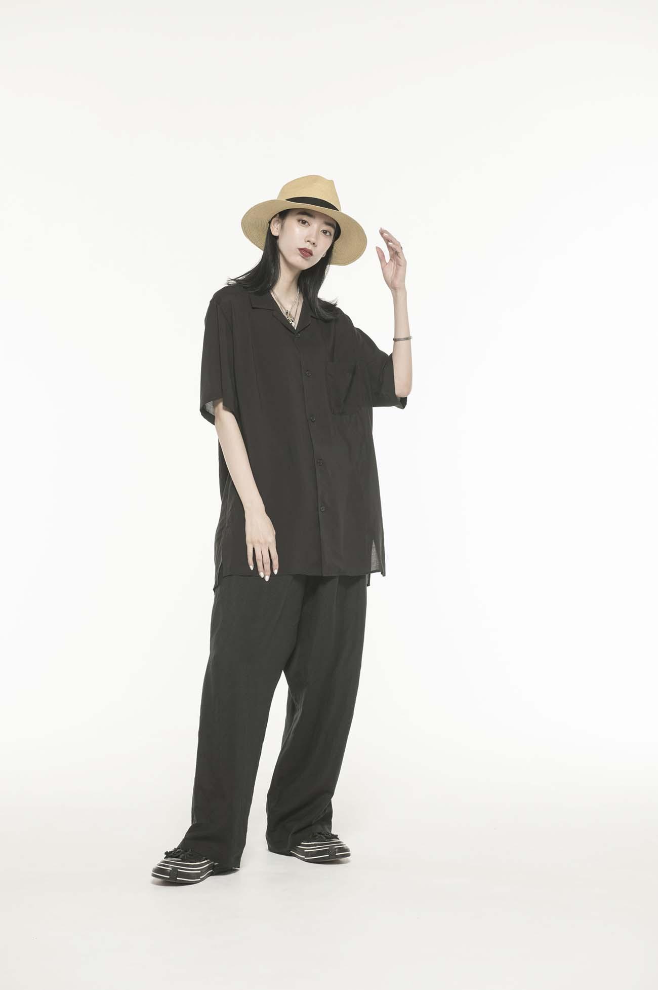 Tencel /Loan Open Collar Short Sleeve Shirt