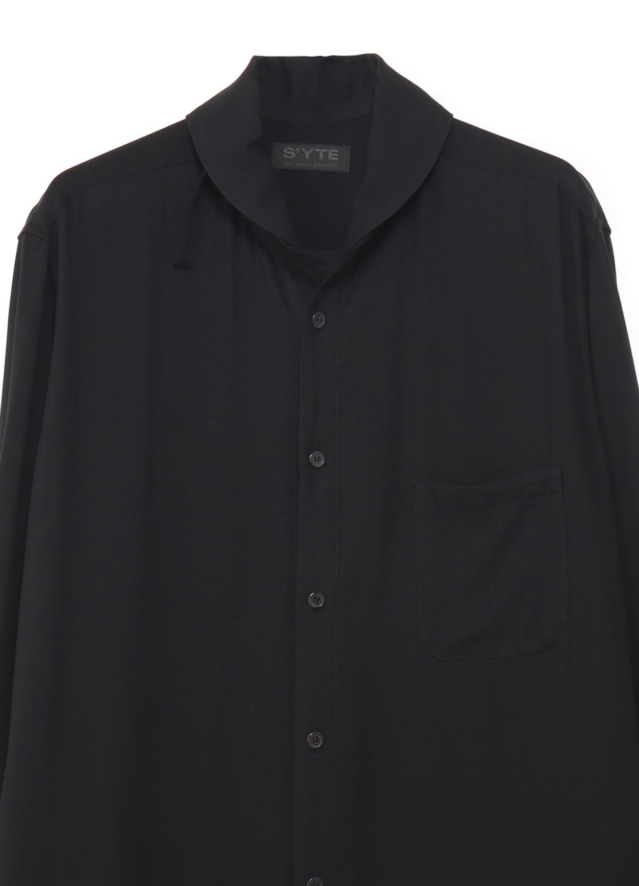 背后纽扣设计超长立领衬衫