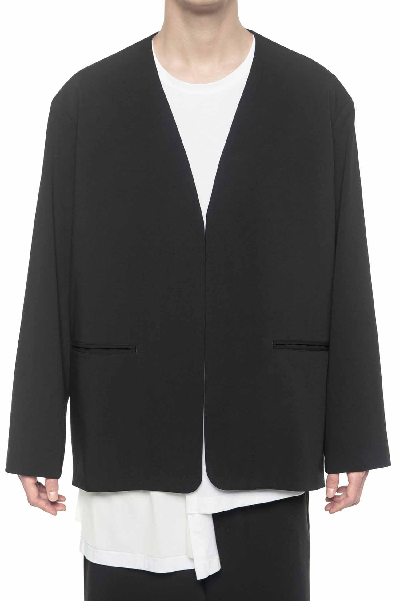 Pe/Rayon Gabardine No Collar Box Jacket