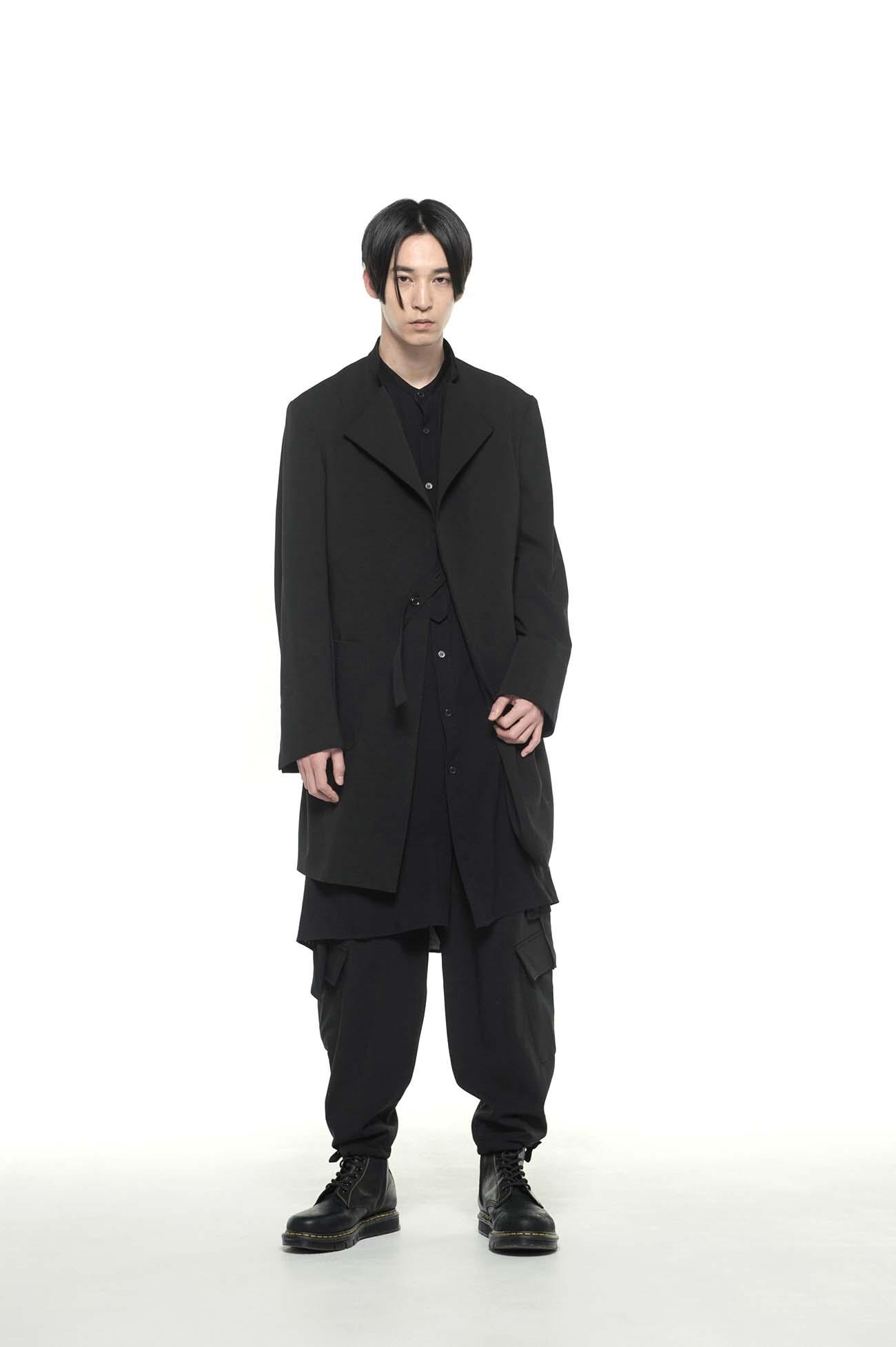 Pe/Rayon Gabardine Upper Collarless Long Jacket