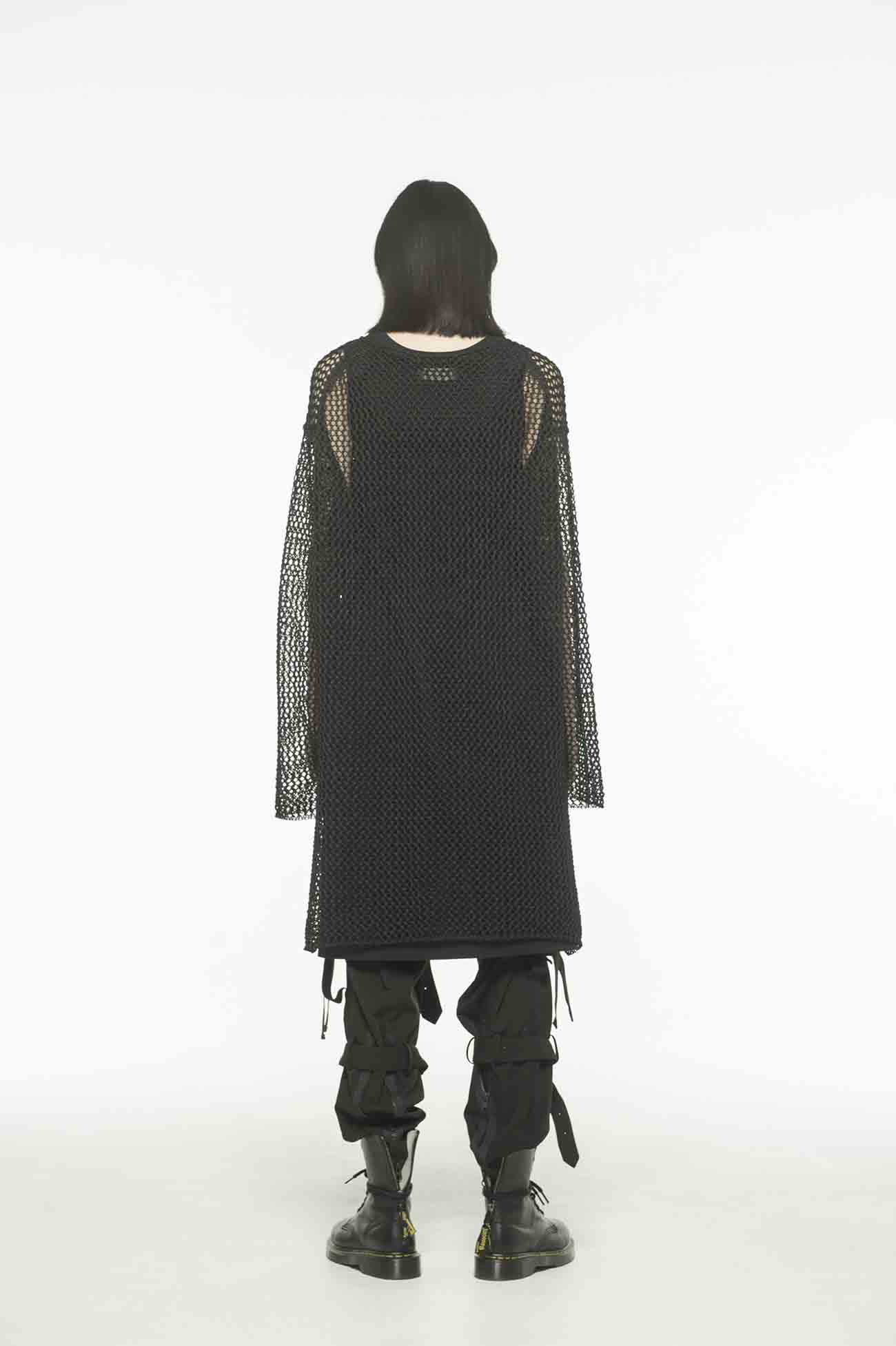 Straw Yarn Mesh Knitting Raglan Pullover