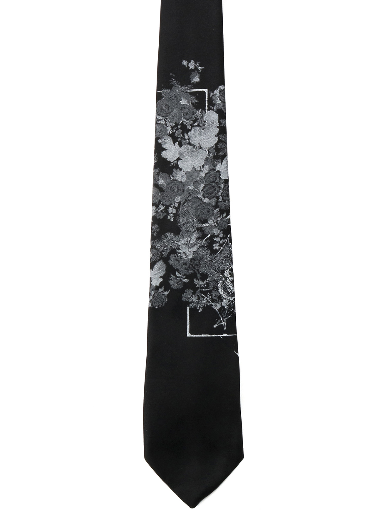 Silk Satin 「A lot of flowers and Skull 」Regular Tie