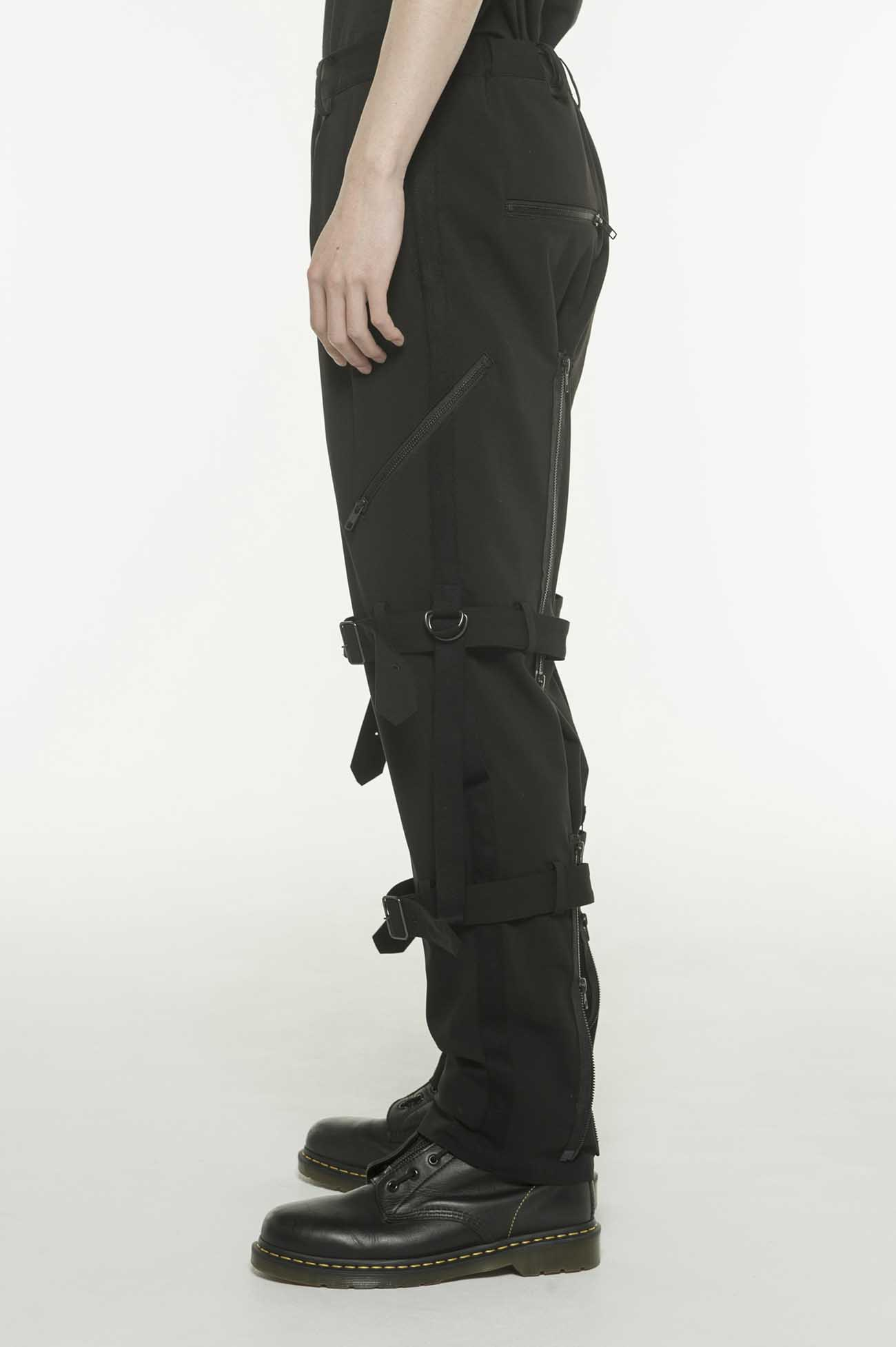 人造丝混纺绑带长裤