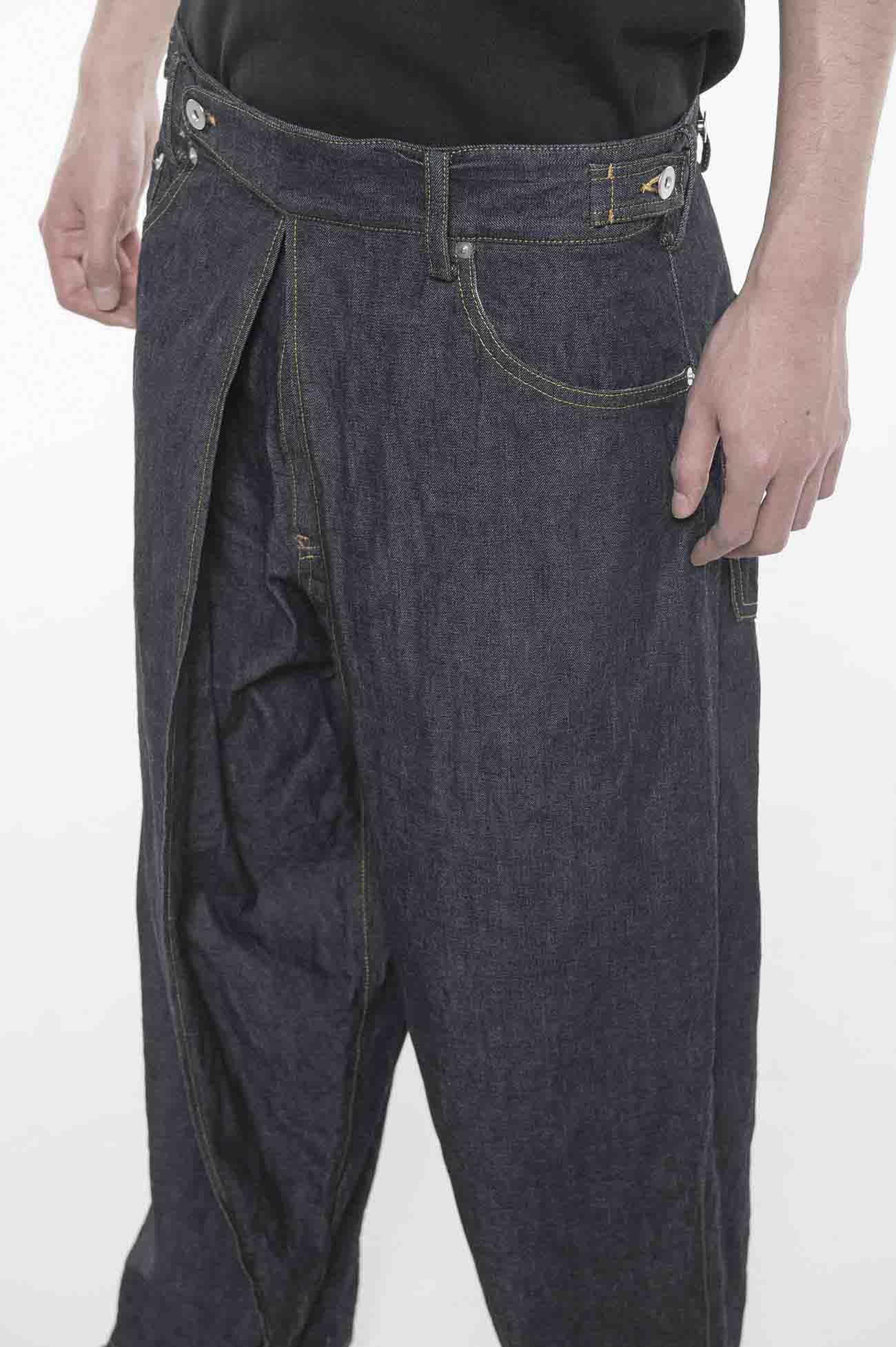 10 oz Denim Center Wide Tuck Pants
