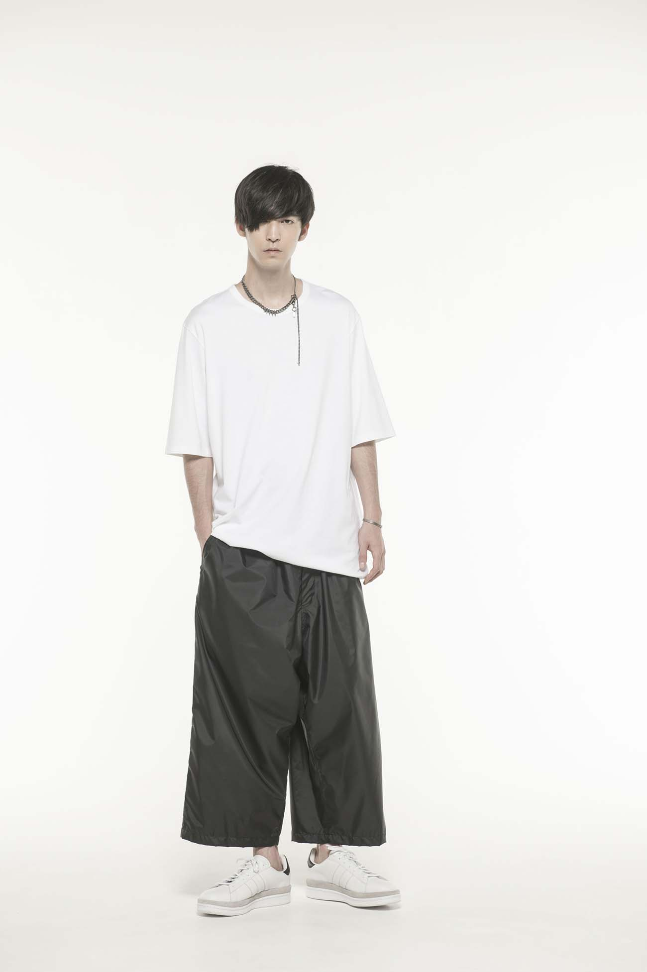 Nylon Taffeta Mesh NoTack Cropped Easy Wide Pants