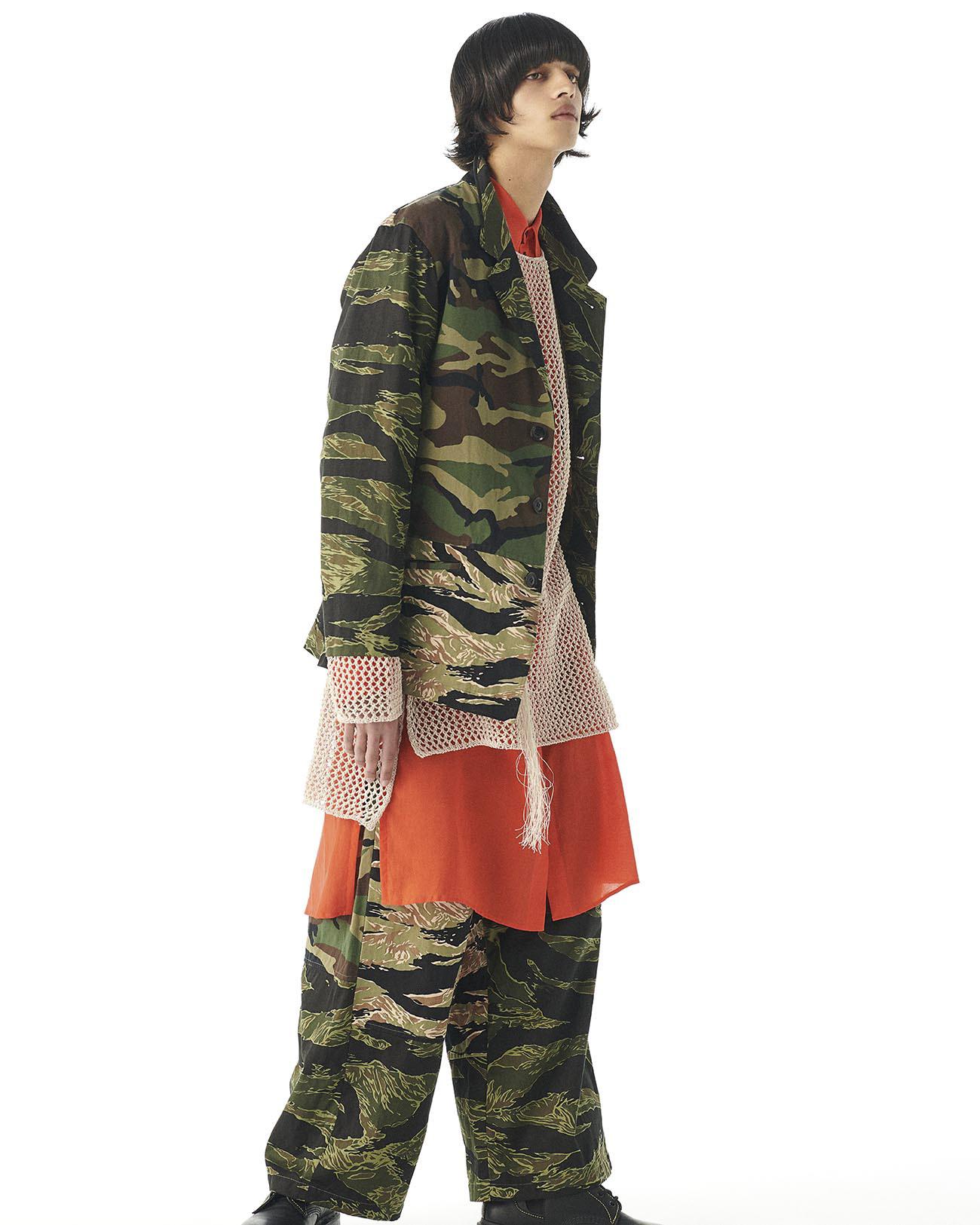 Crazy Camouflage One Tuck Waist Adjust Buggy Pants