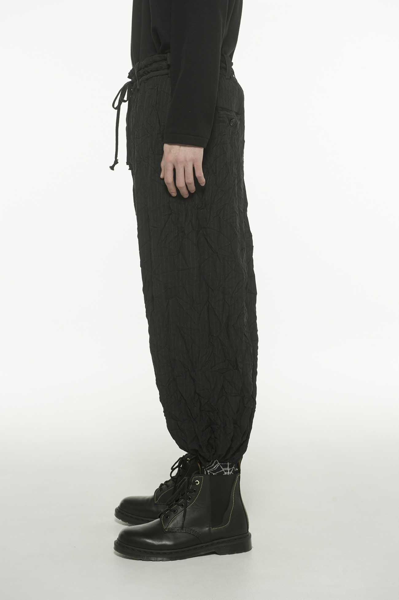 T/W Dobby Stripe Wrinkle Processing Balloon Hakama Pants