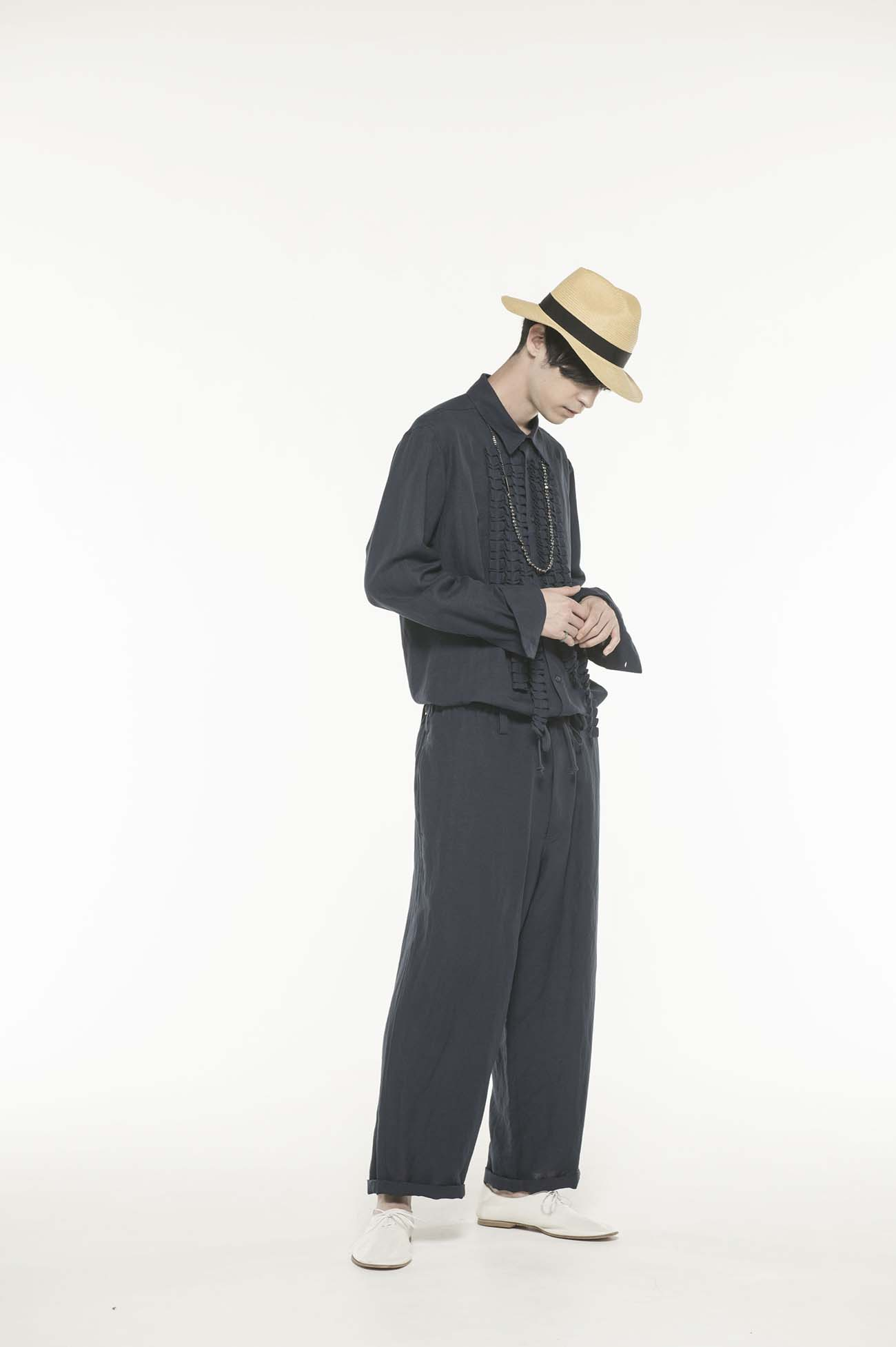 Rayon/Linen Bio Washer Waist String Pants
