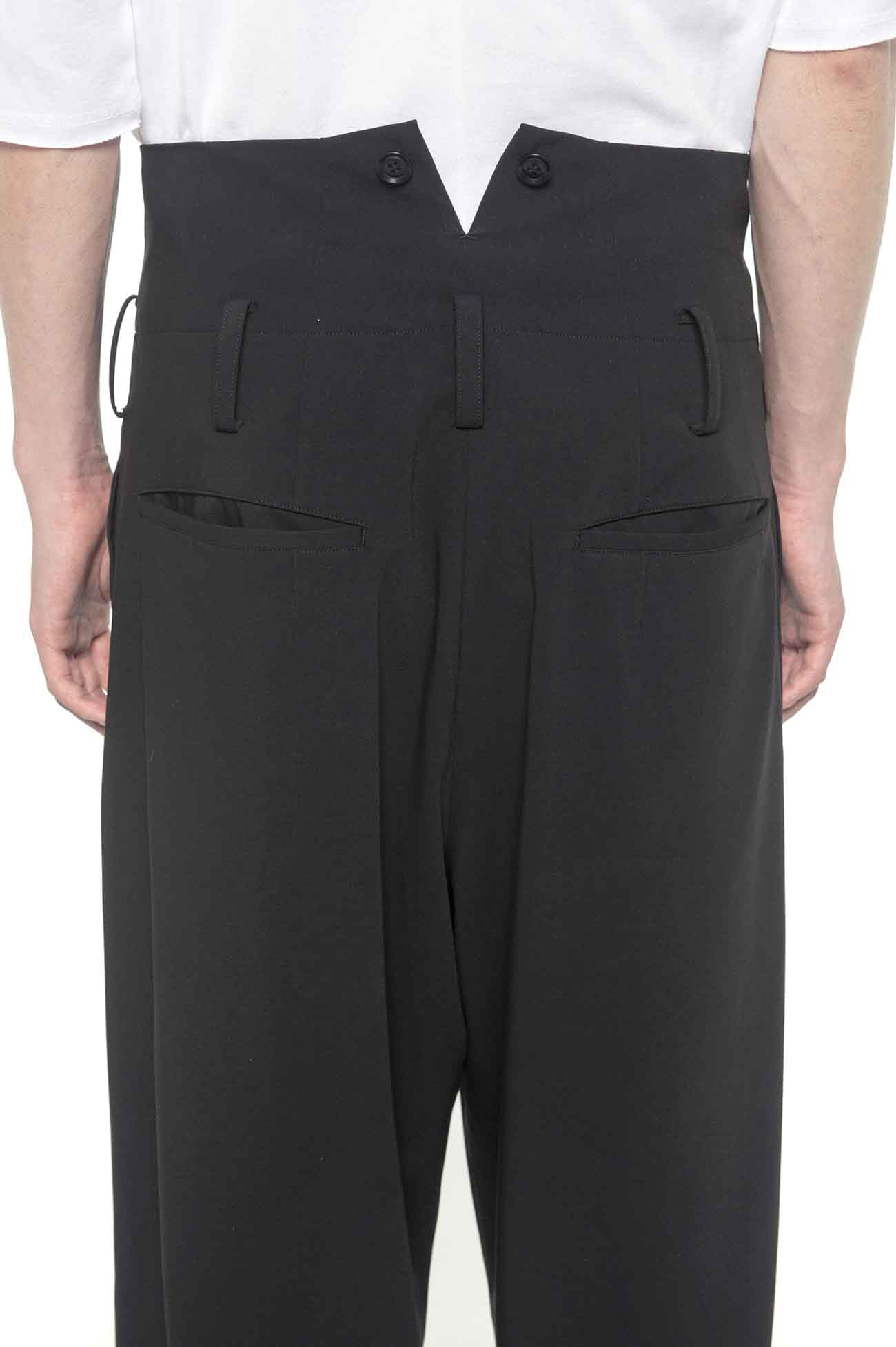 Pe/Rayon Gabardine Stretch High Waist Wide Suspenders Pants