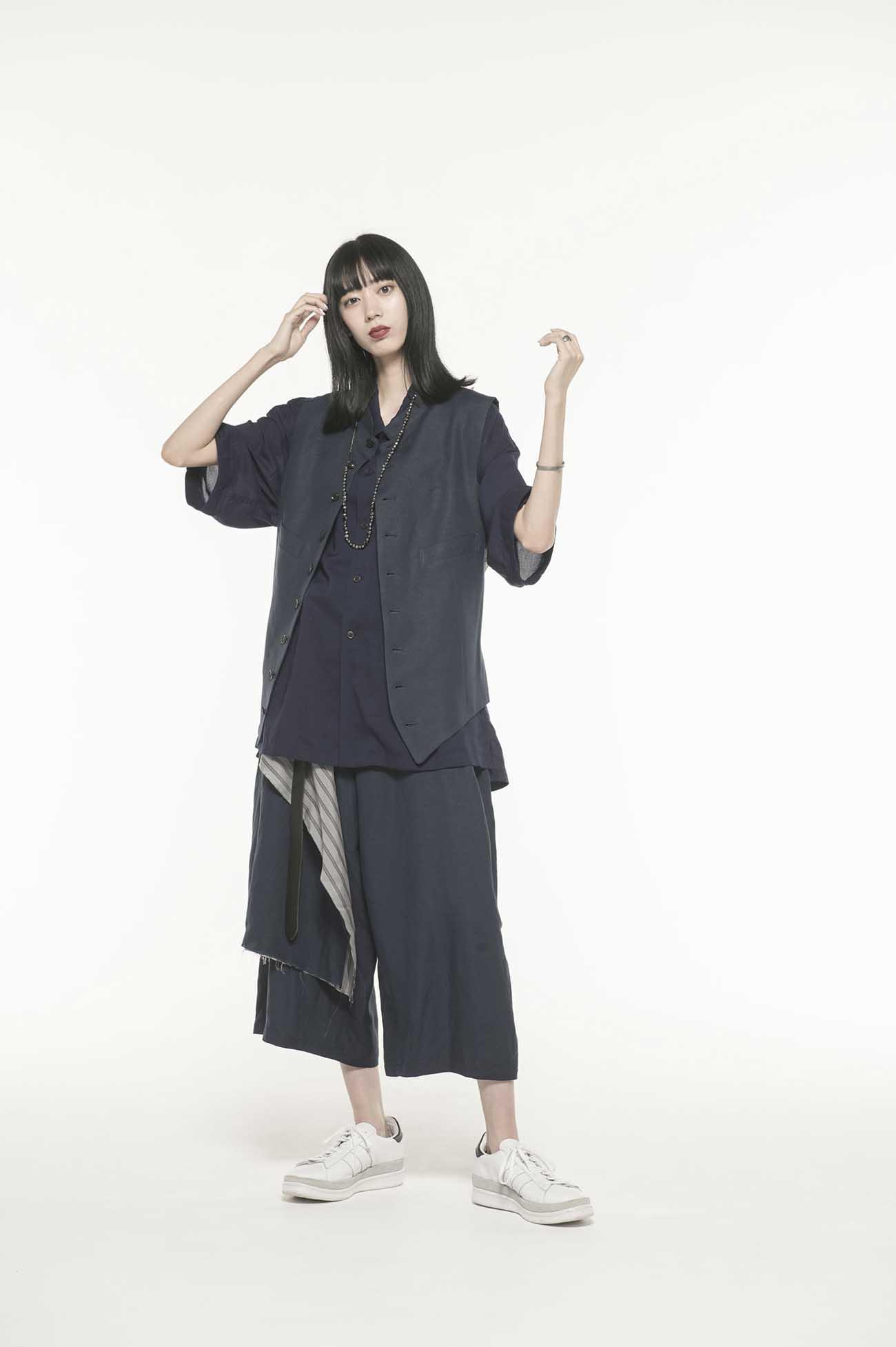 Rayon/Linen Bio Washer One Tack 6-quarter-length Wrap Pants
