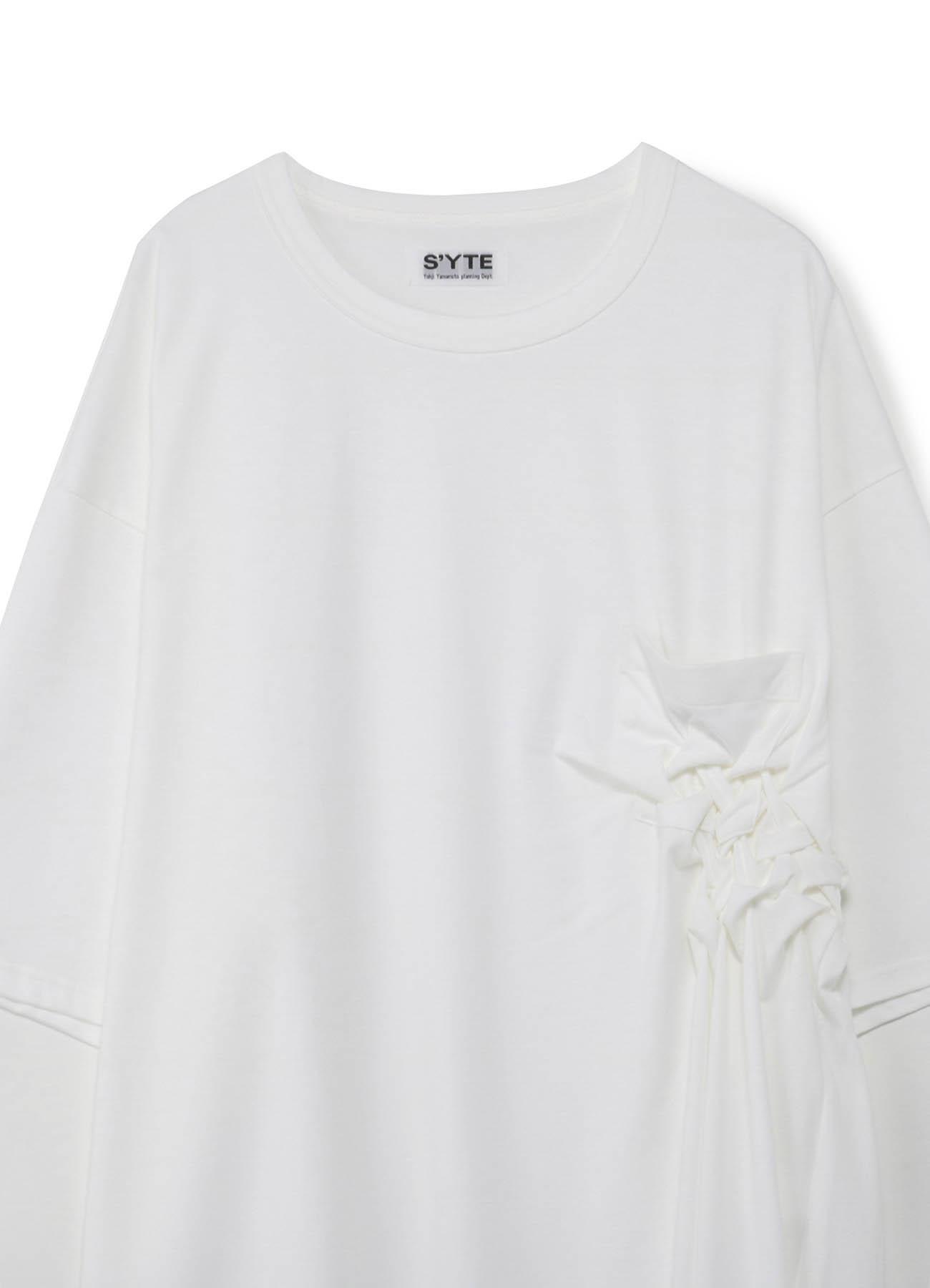 单侧编织民族风长款宽松T恤