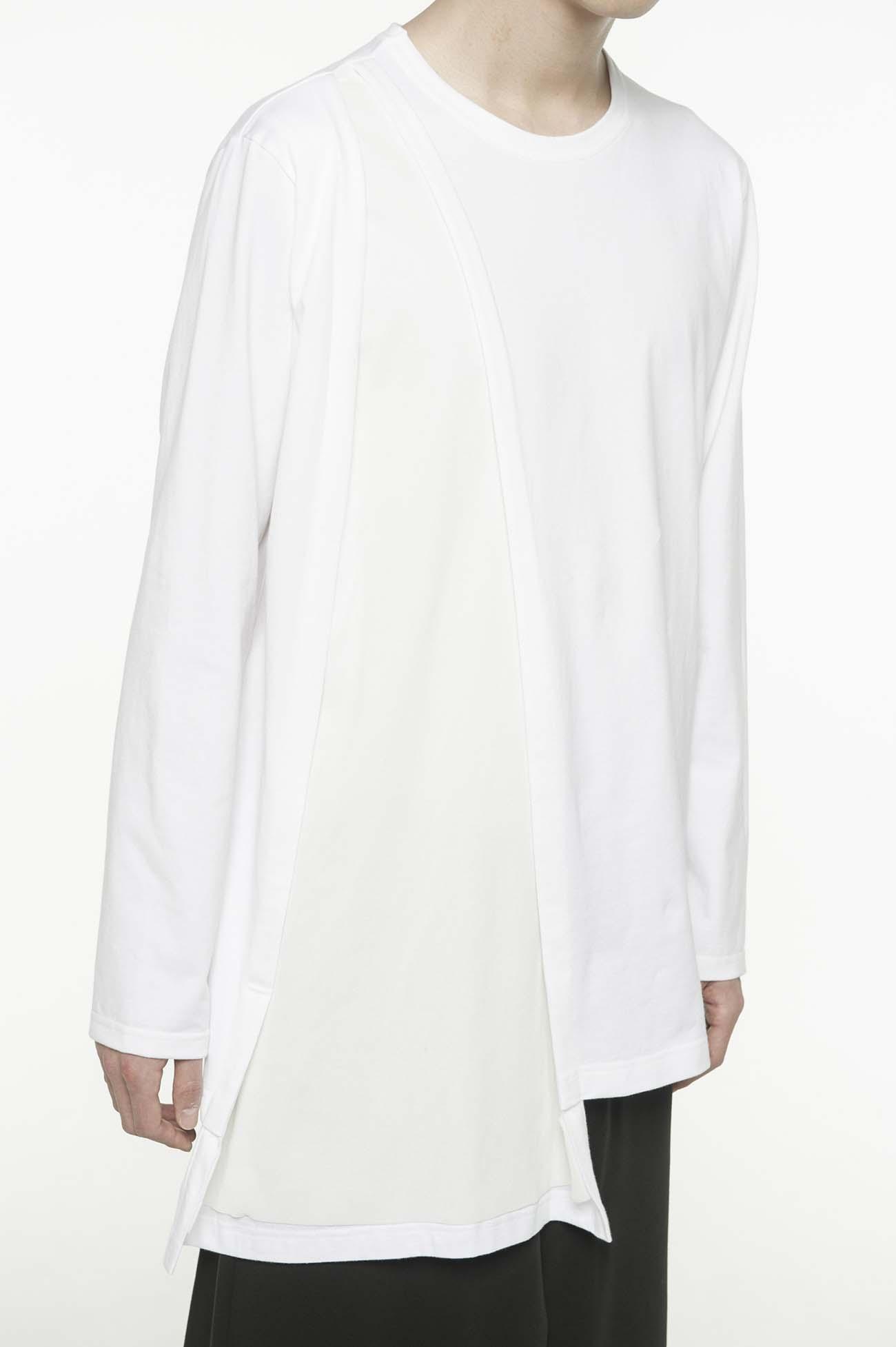 拼接面料不对称长款T恤