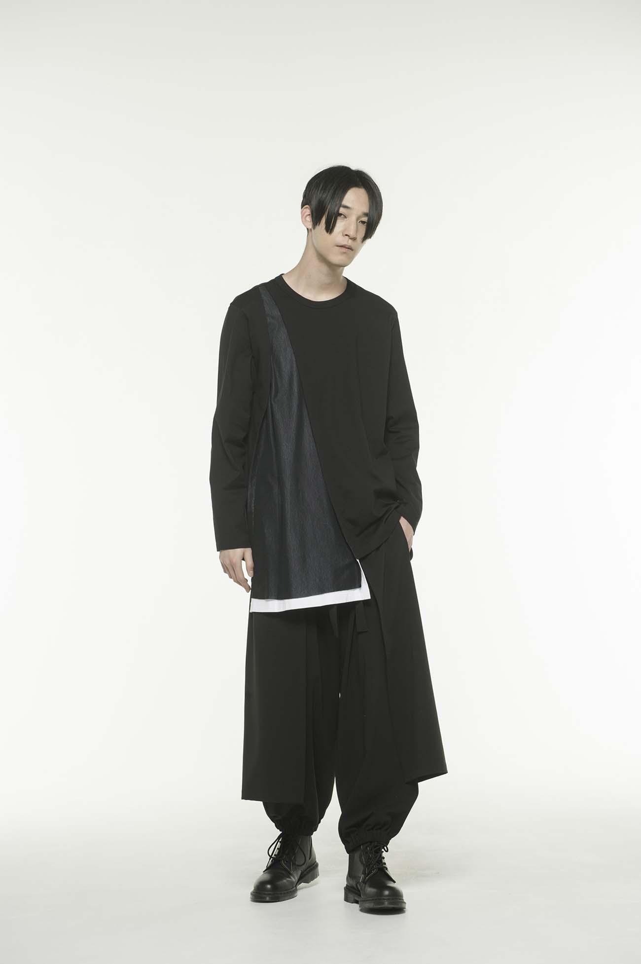 40/2 Cotton Jersey Tulle layered asymmetry drape T-shirt