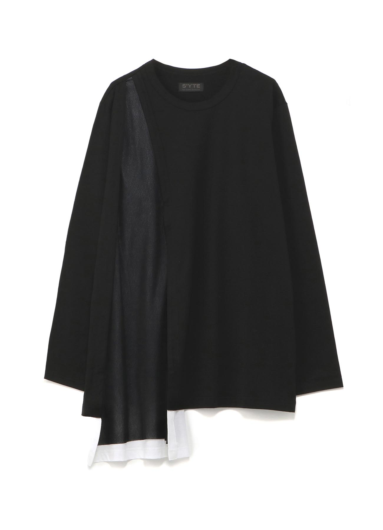 40/2 Cotton Jersey Tulle layered asymmetry drape T-shirt