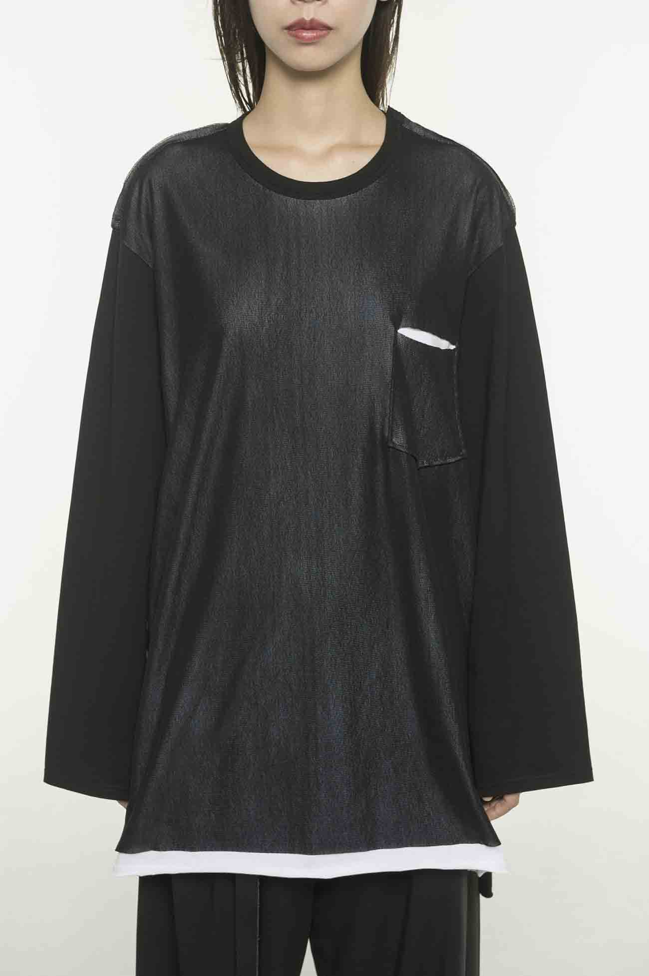 40/2 Cotton Jersey Layered Tulle Pocket Long sleeve T-shirt
