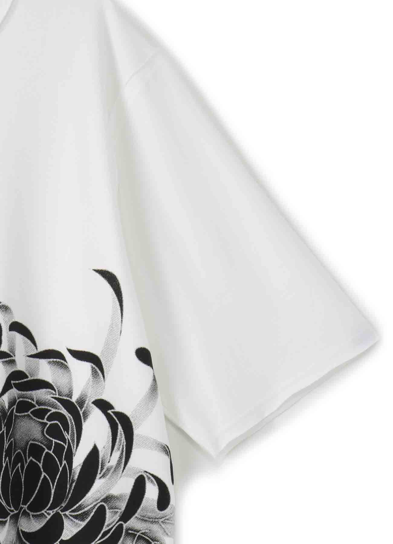 40/2 Cotton Jersey Stitching Slit Big Flower T- shirt