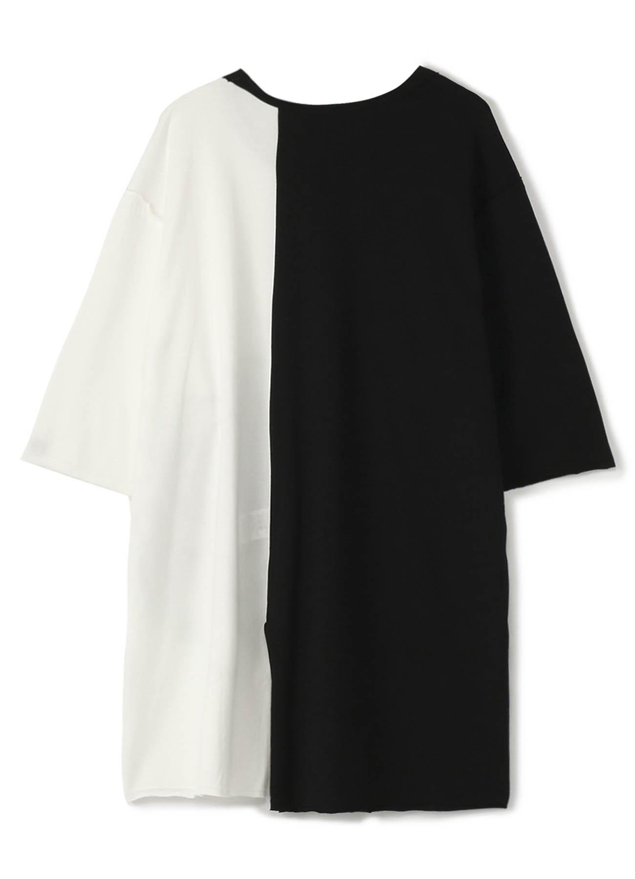 40/2 Cotton Jersey Stitching Slit Big Flower Black & White T-shirt