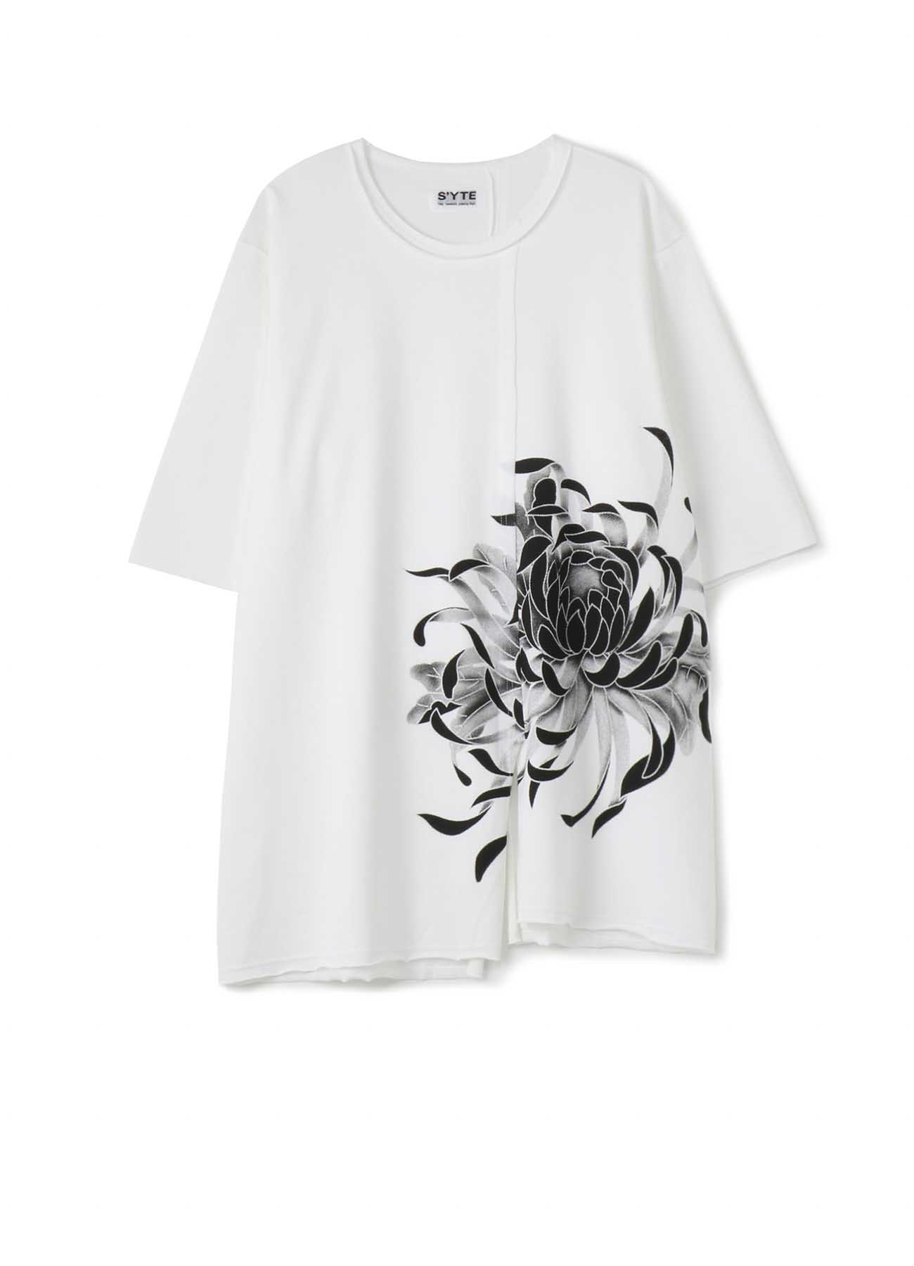 40/2 Cotton Jersey Stitching Slit Big Flower T- shirt