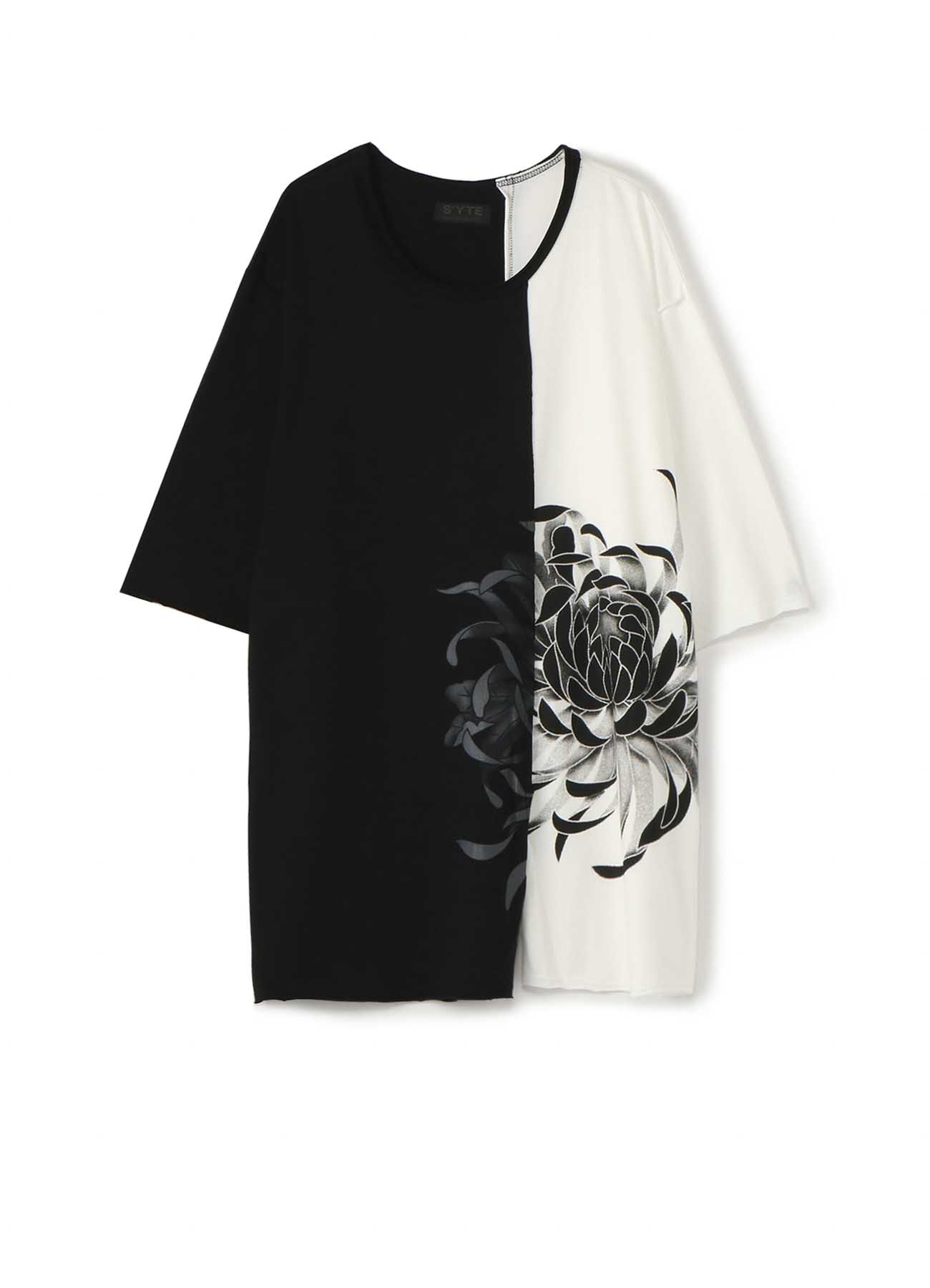 40/2 Cotton Jersey Stitching Slit Big Flower Black & White T-shirt