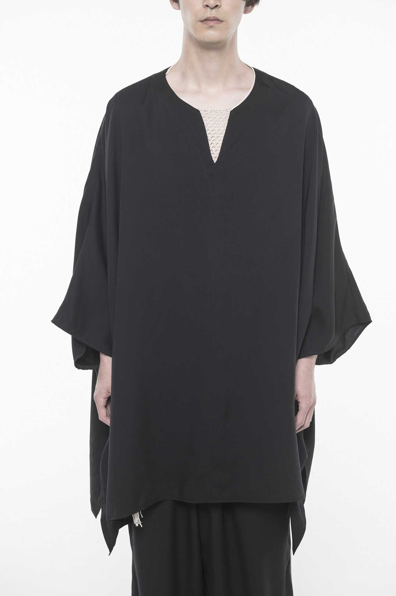 Tencel /Burberry Piping Vslit Tunic Poncho Pullover