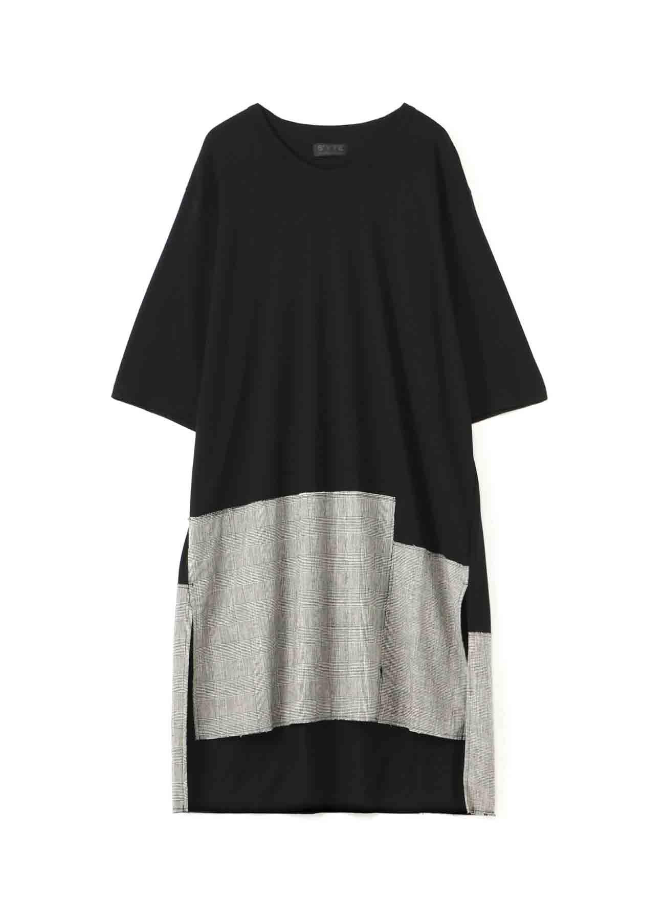 C/Lyocell Jersey Patchwork Long T-shirt