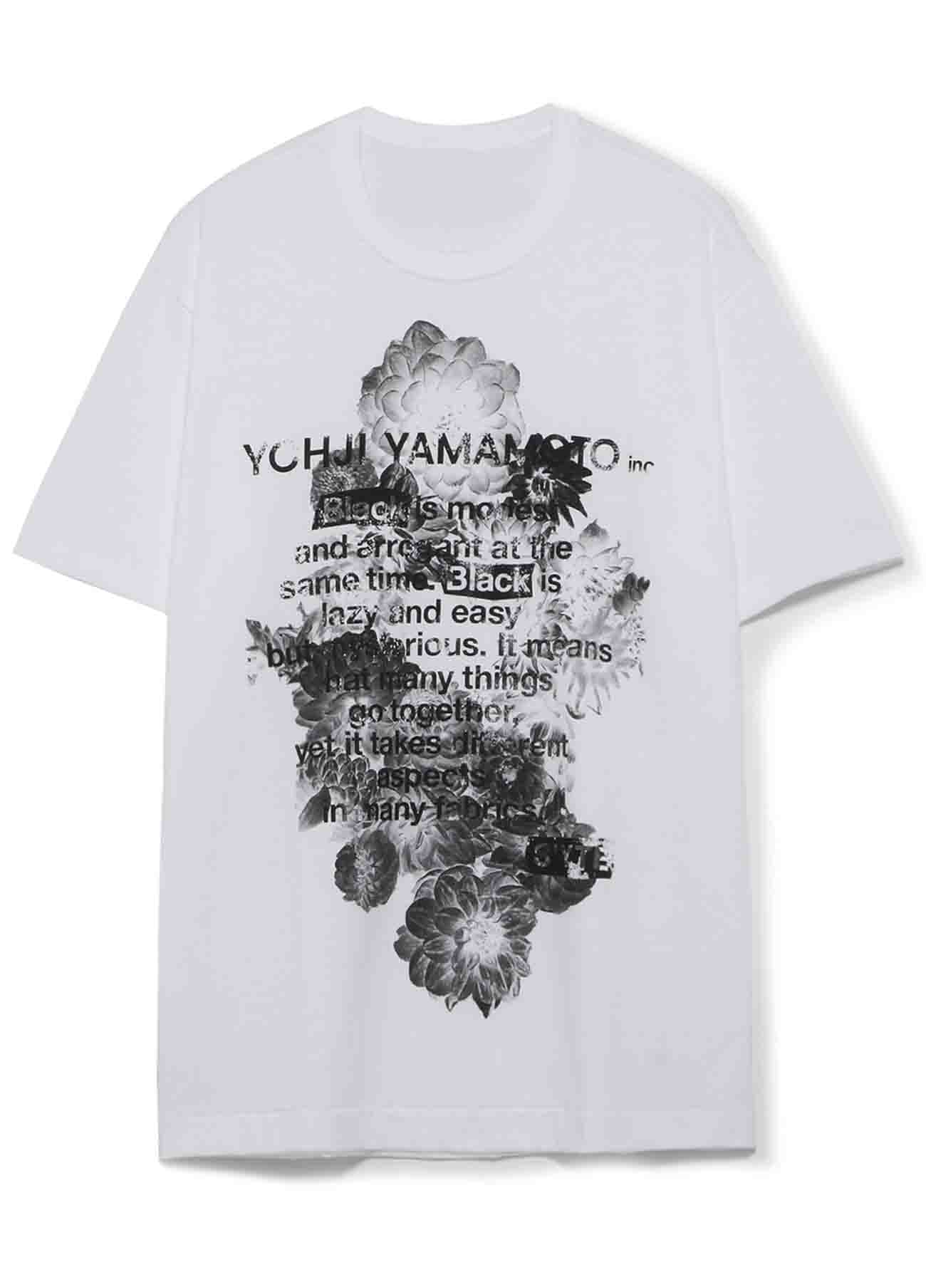 20/CottonJersey Blooming flowers「Black Is Modest」Message T-Shirt