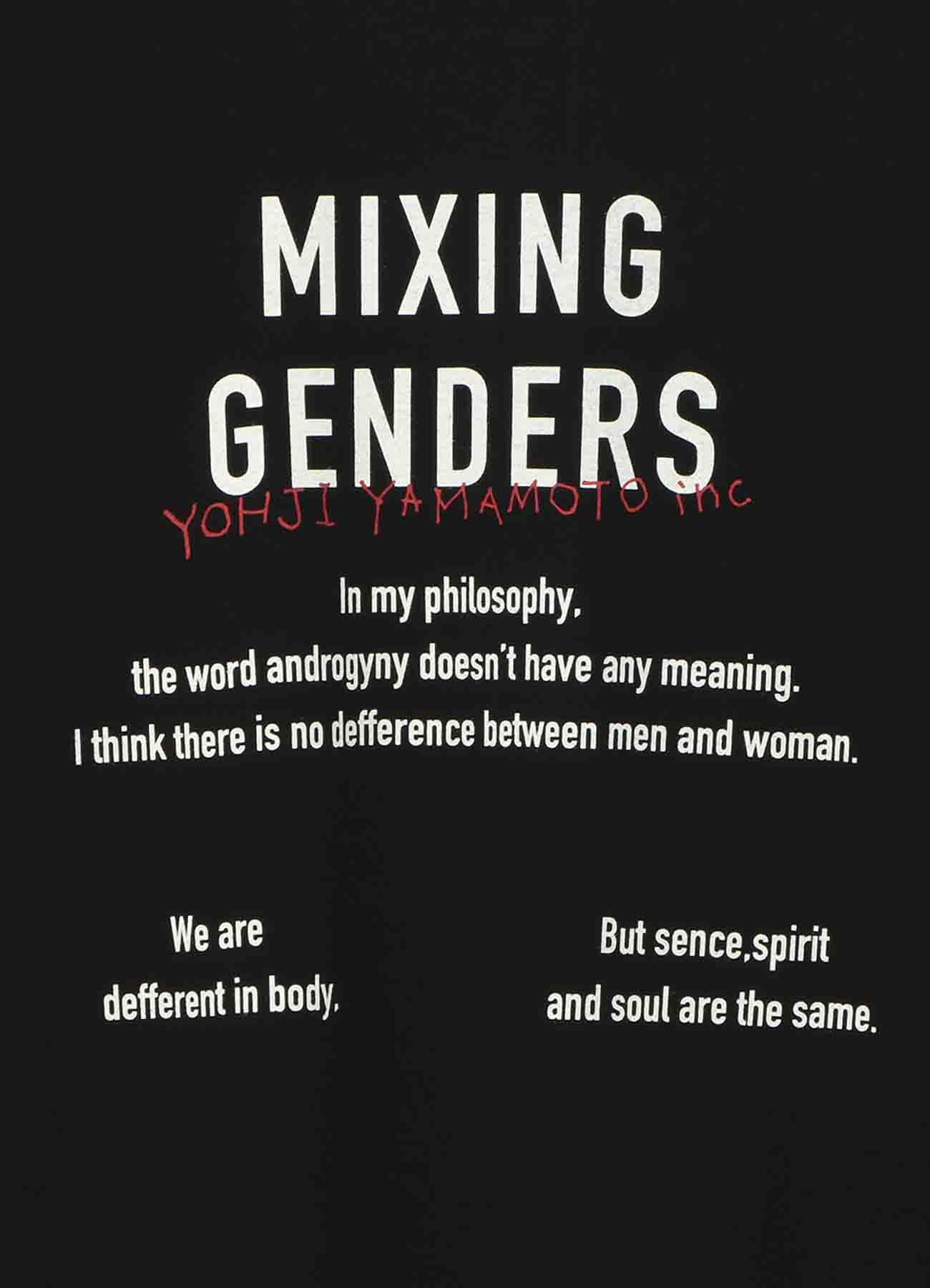 """山本耀司语录T恤""""MIXING GENDERS"""""""