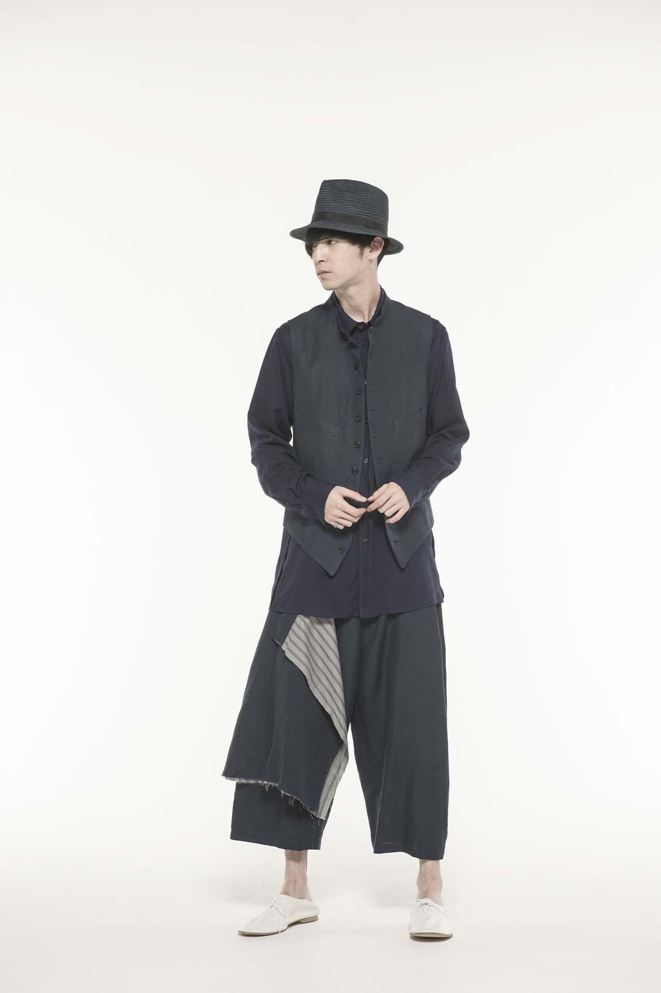 Rayon/Linen Bio Washer Stand Collar Vest