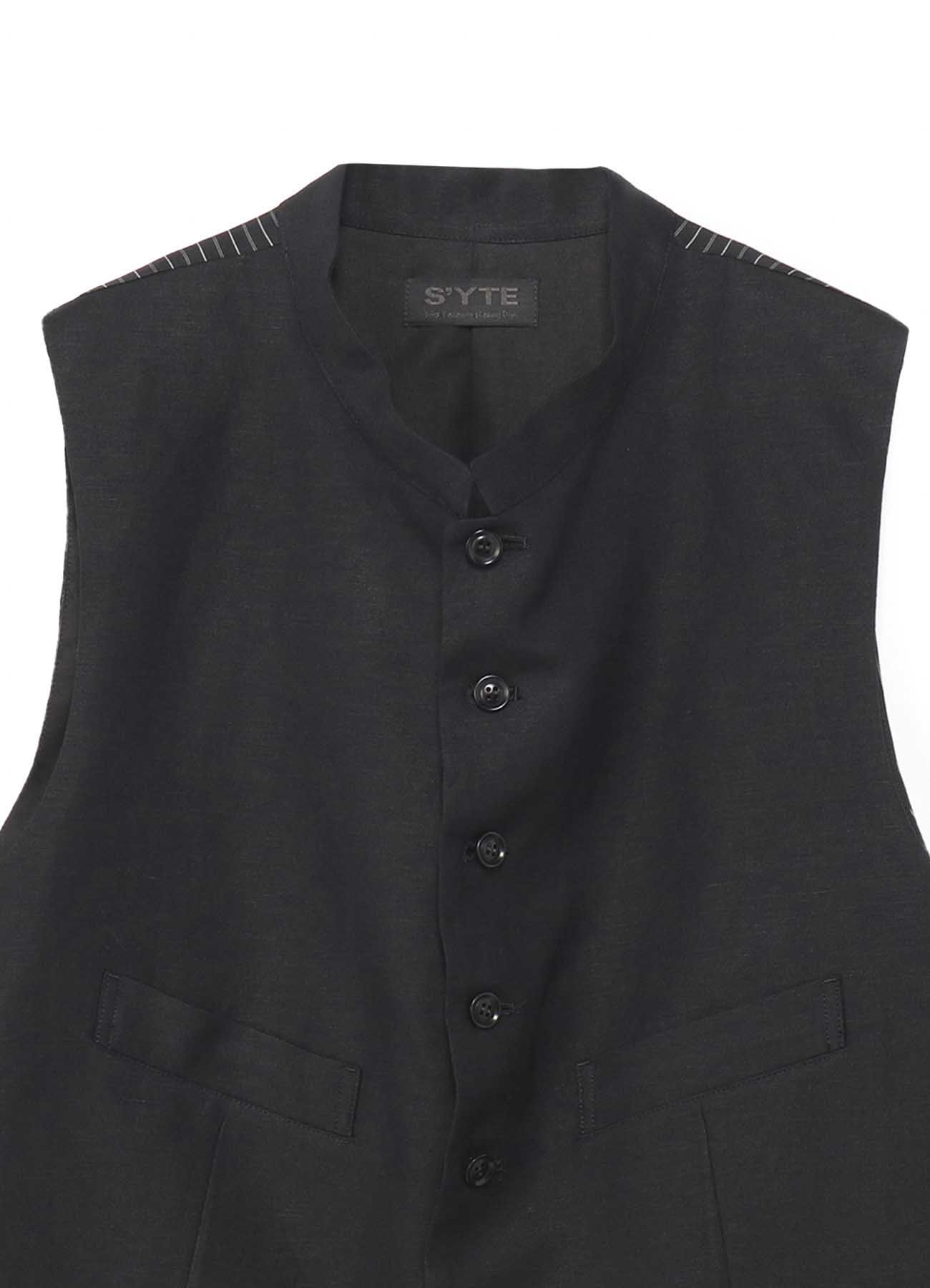 Rayon/Linen Bio Washer Stand Collar Vest
