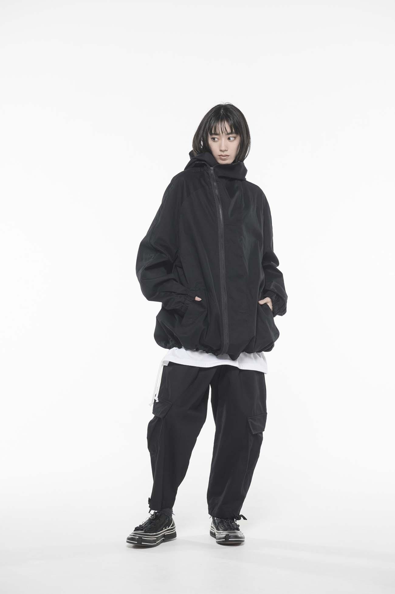 20/Cotton Twill Washer Diagonal Zip Shell Jacket